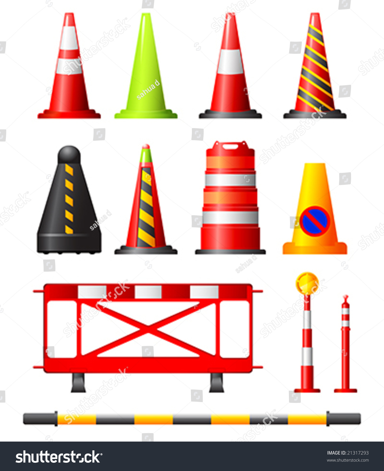 Road Barricade Signs Stock Vector Collection Of Different Traffic Cones Drums