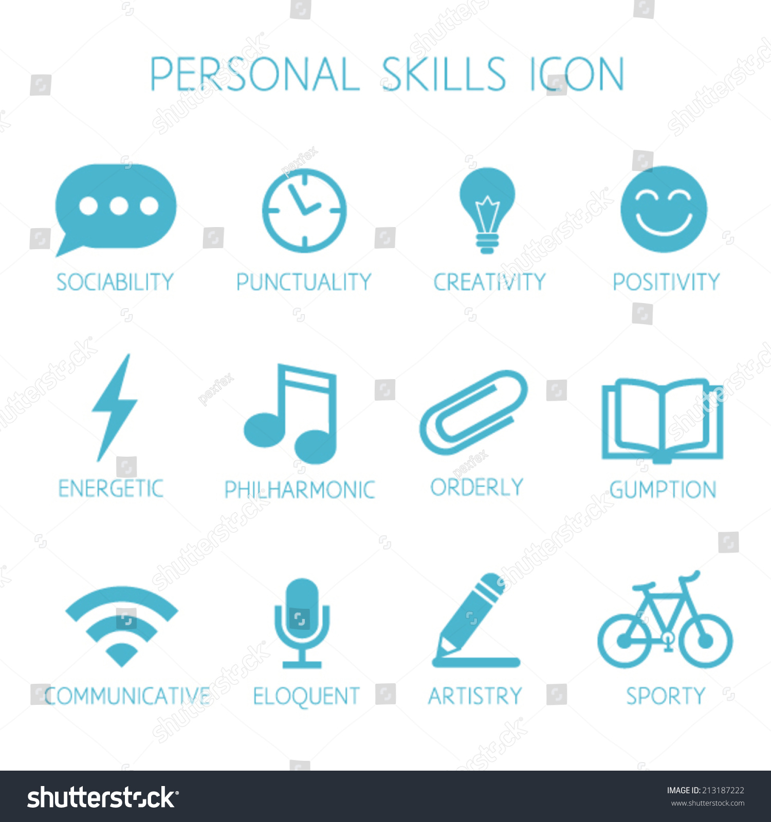 personal skills icon self characteristic vector stock
