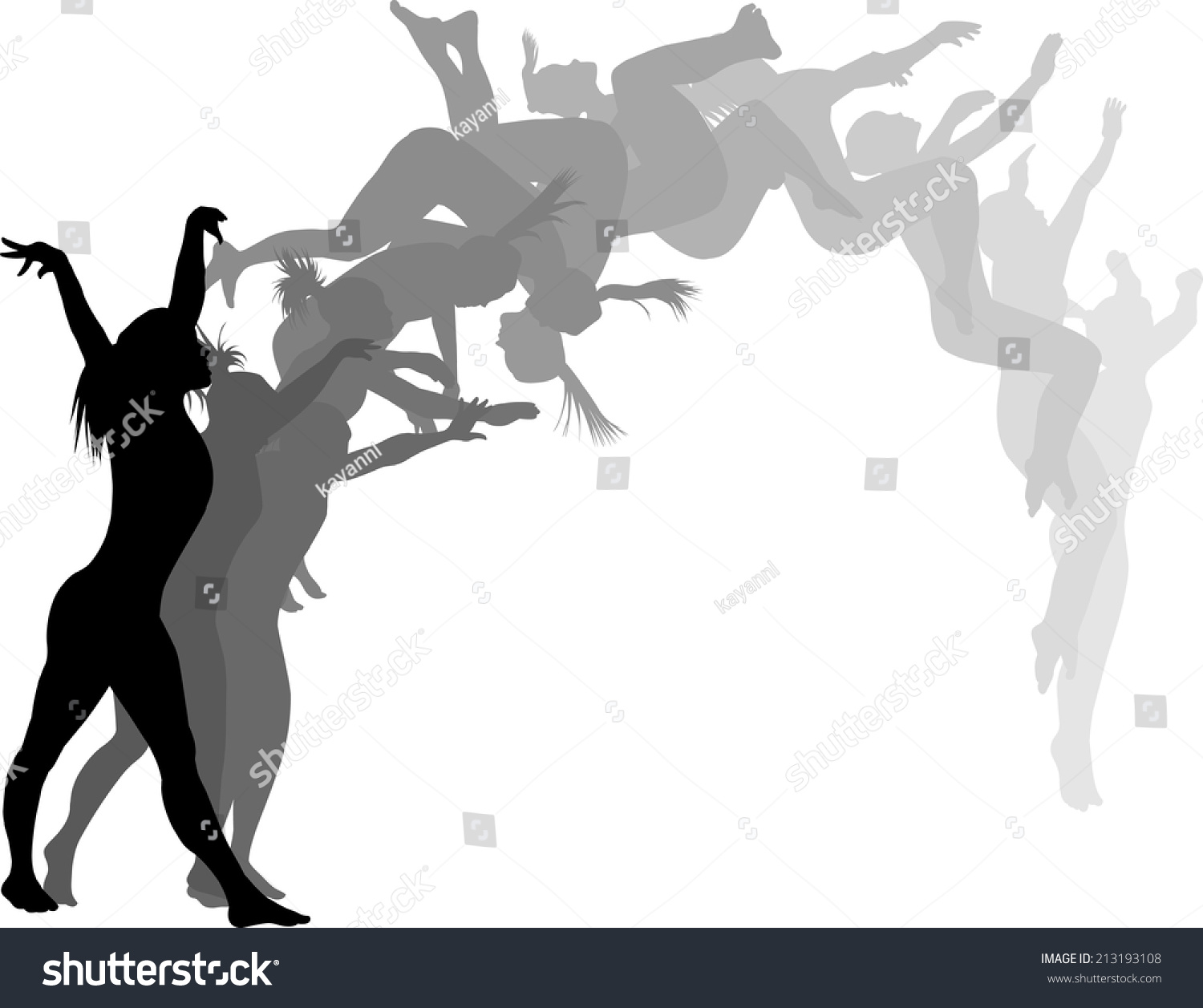 Silhouettes Of A Woman Gymnast Executing A Back Flip