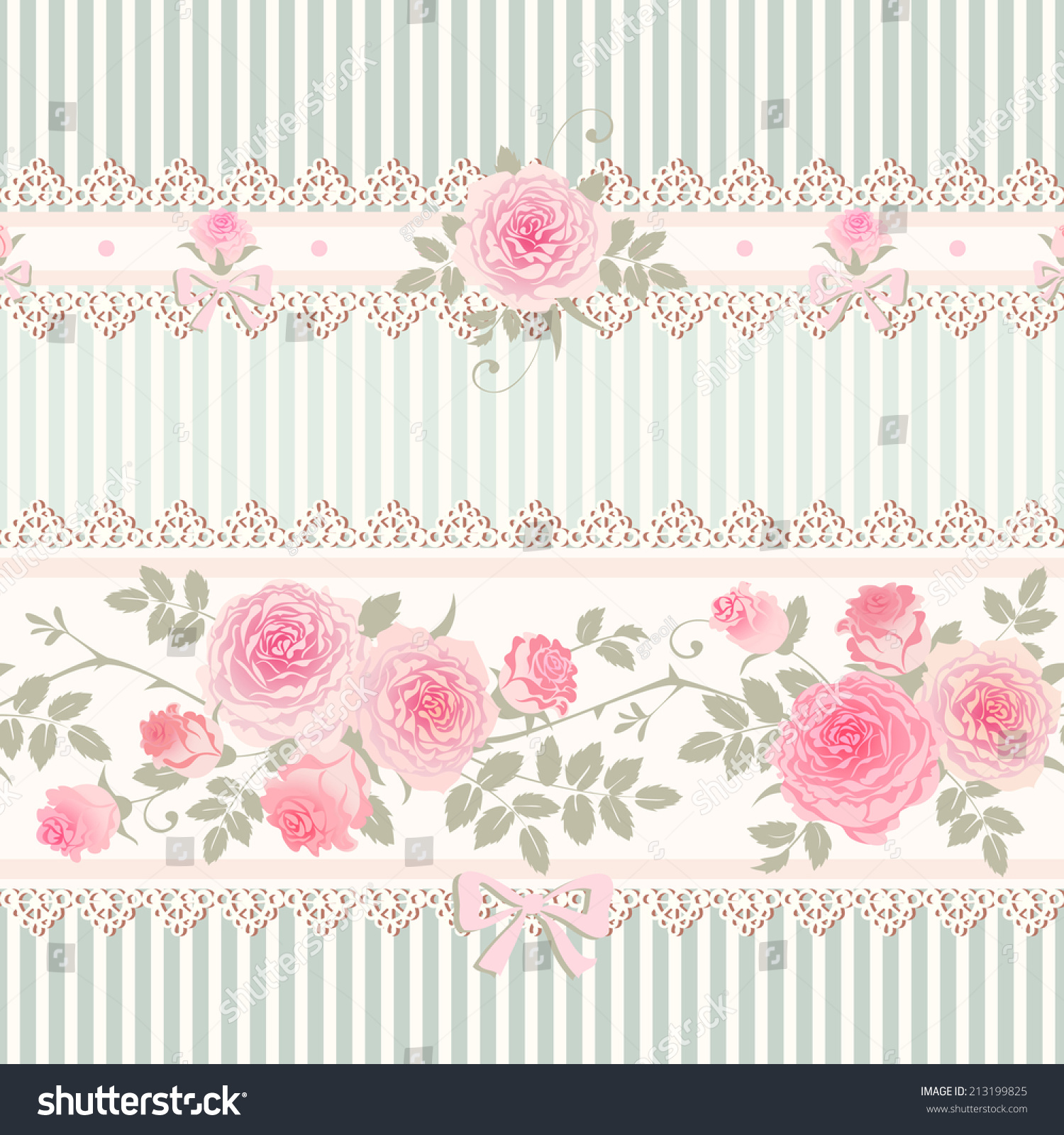 Seamless Floral Background Vector Striped Pattern 213199825