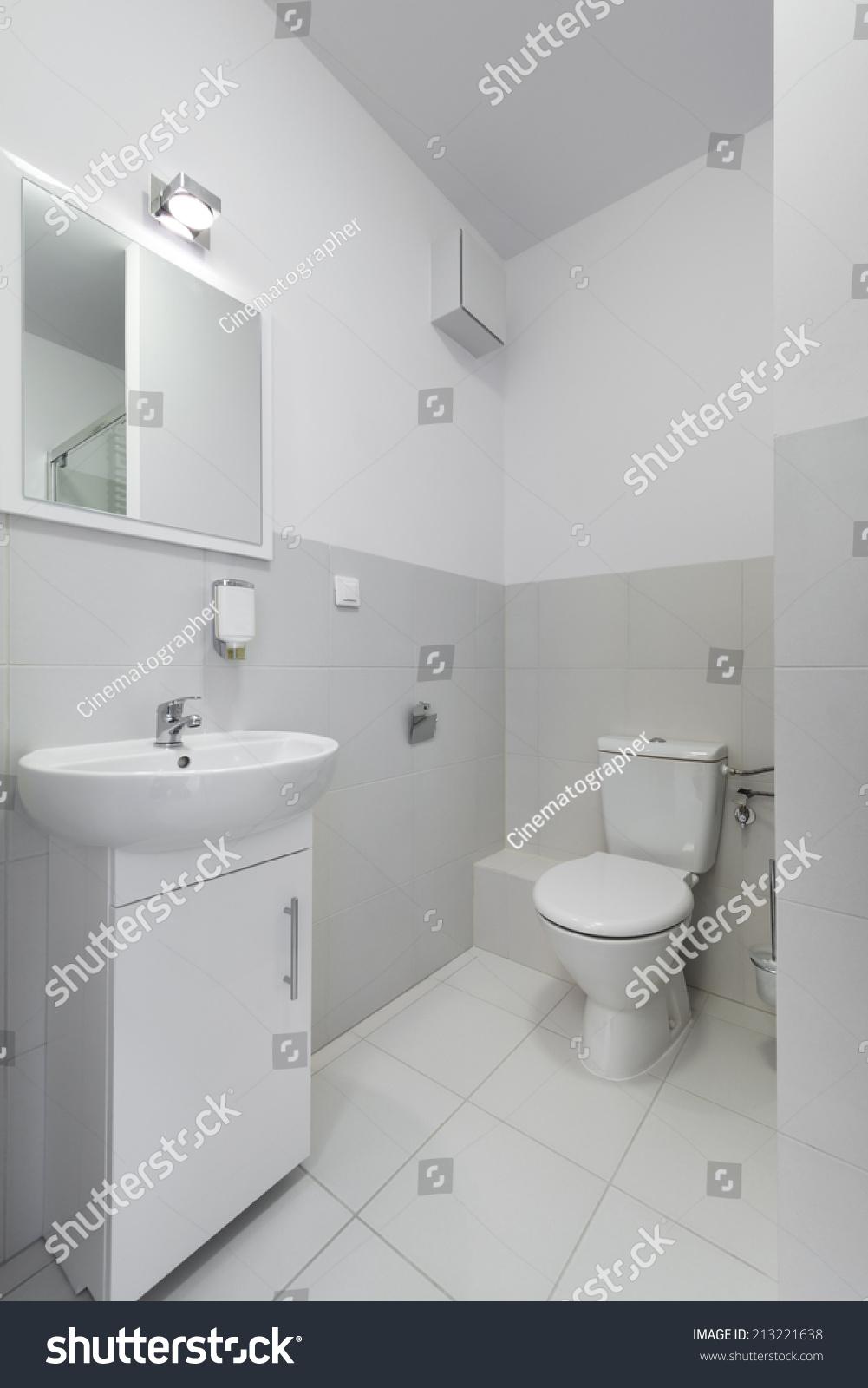 Small Compact Interior Bathroom Design Scandinavian Stock Photo ...