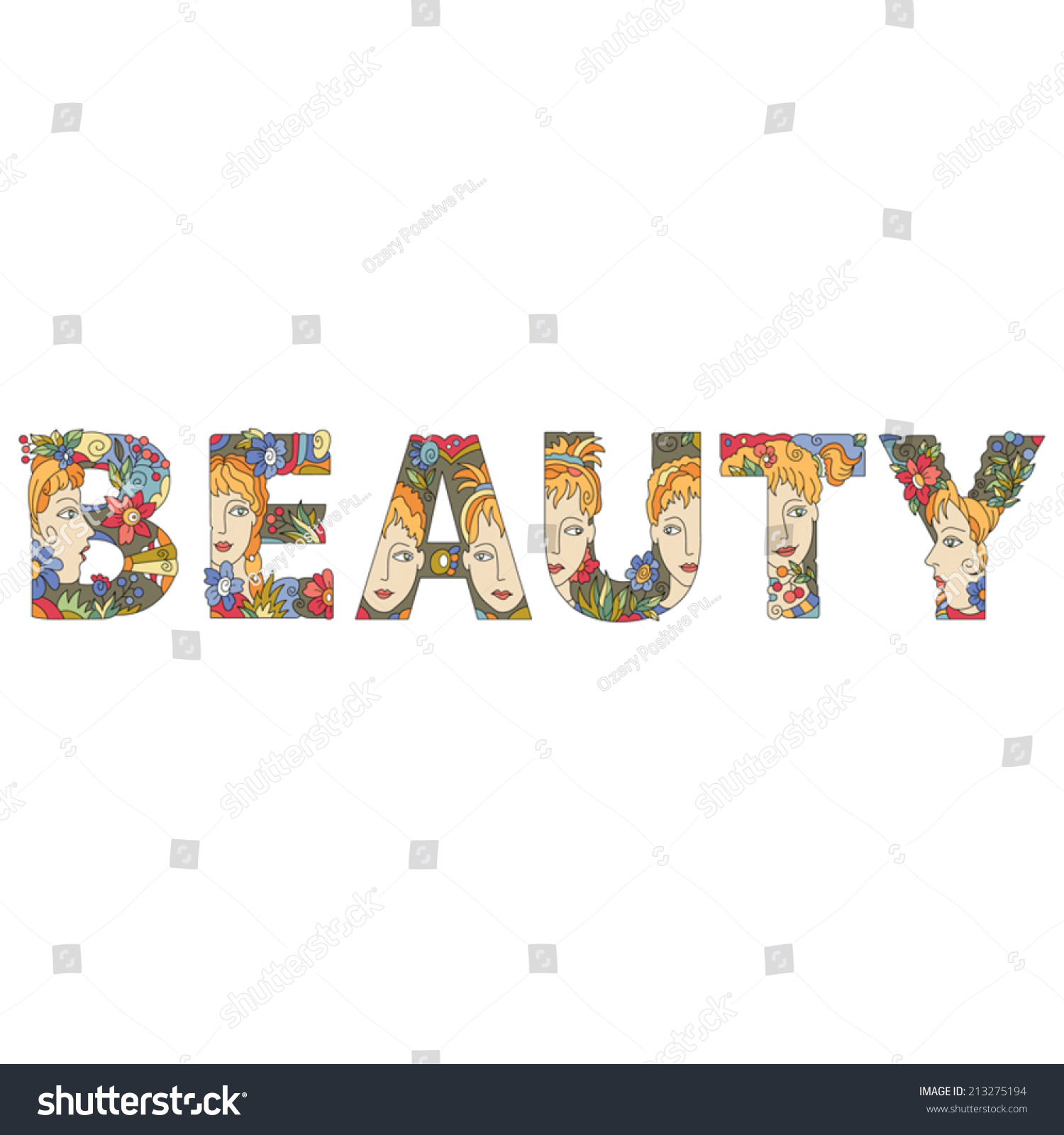 word beauty of decorative initial capital letters with