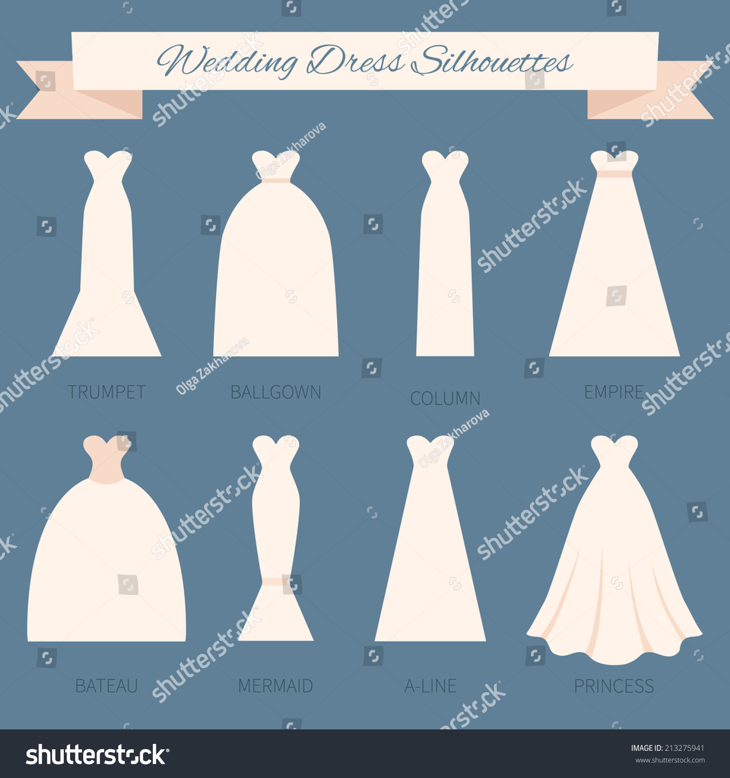 Different Styles Wedding Dresses Made Modern Stock Vector HD ...
