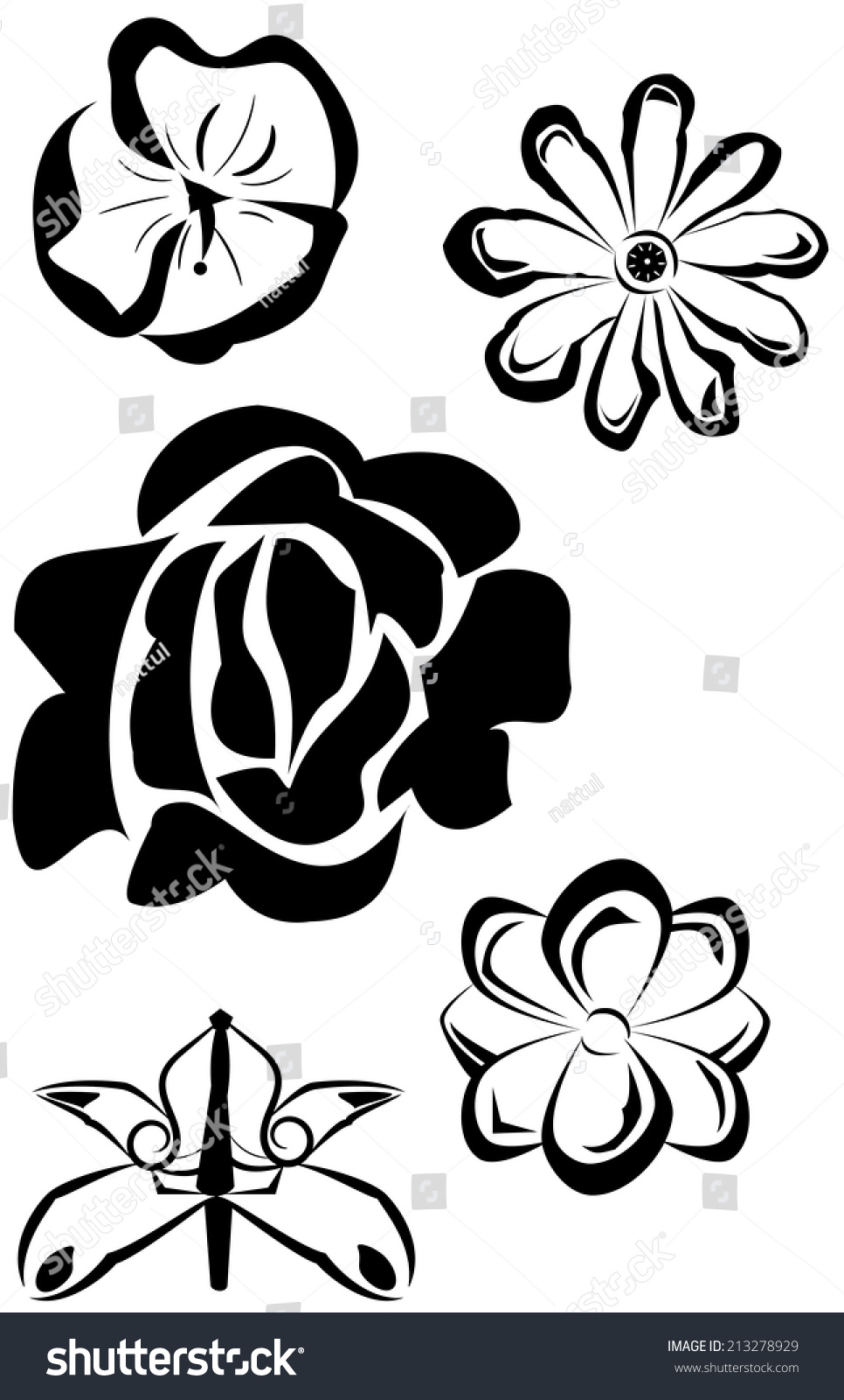 Abstract set of flowers represent love stock vector for Flowers that represent love