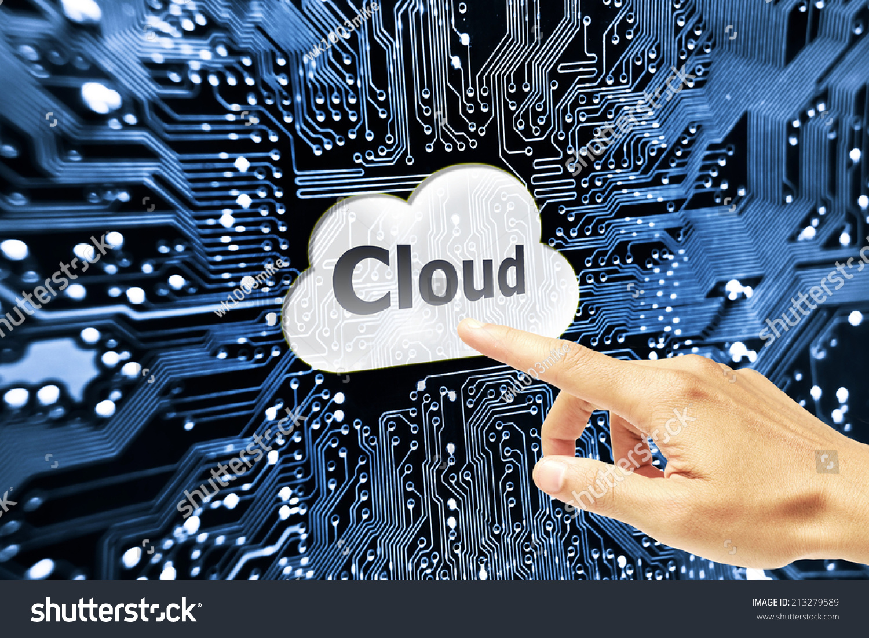 Hand pointing cloud computing symbol on stock illustration 213279589 hand pointing to cloud computing symbol on computer circuit board buycottarizona Choice Image