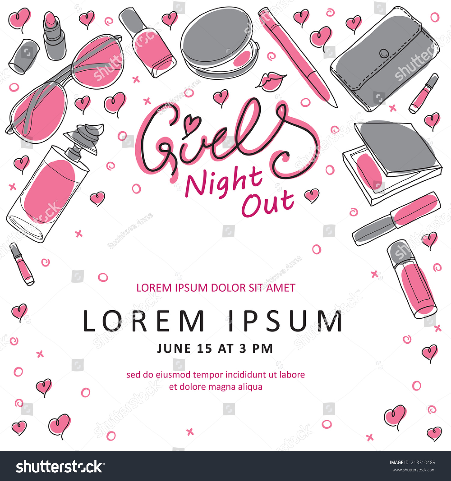 Girls Night Out Party Invitation Card Stock Vector 213310489 ...
