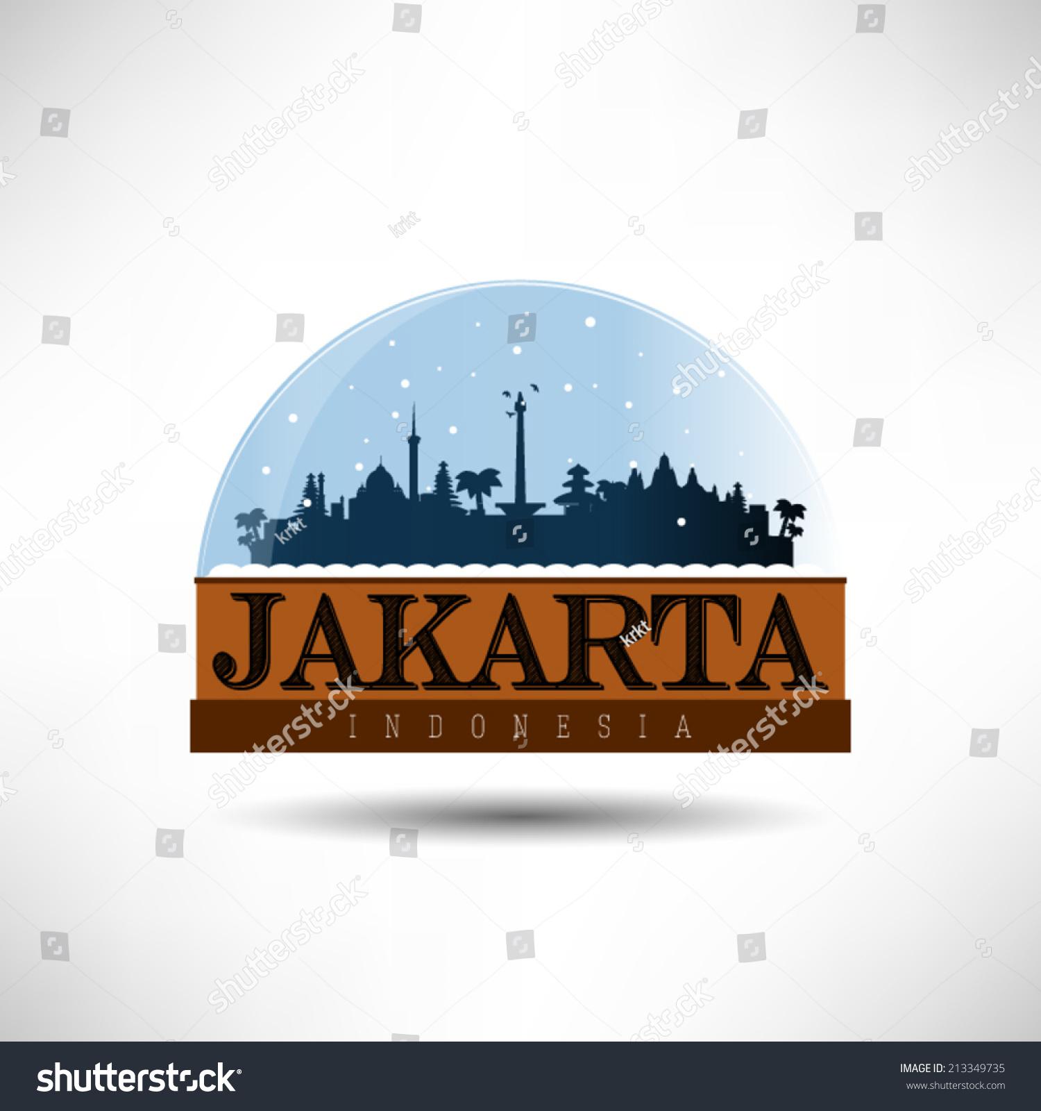 Jakarta Indonesia City Skyline Silhouette Snow Stock