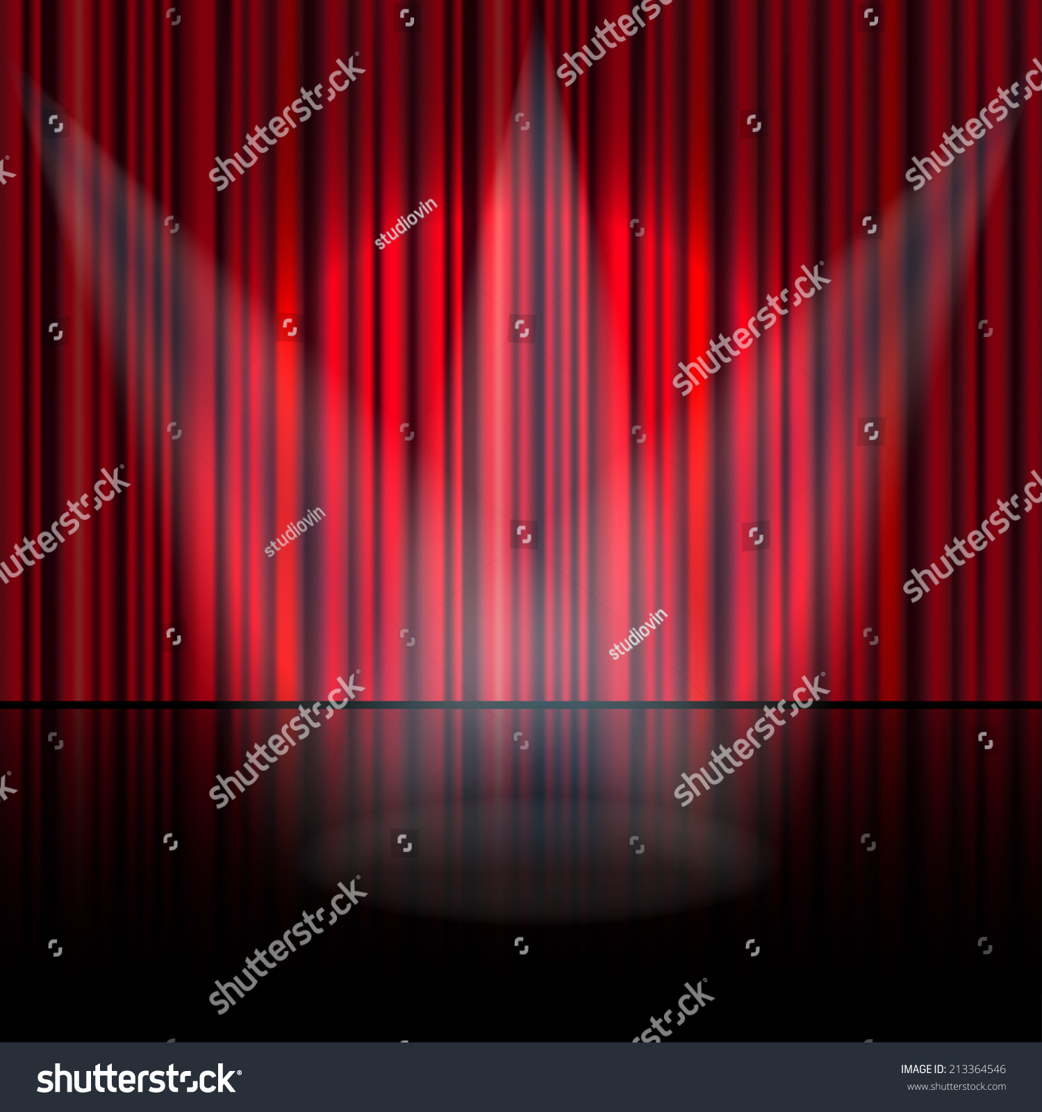 Stage curtains spotlight - Spotlight On Stage Curtain Vector