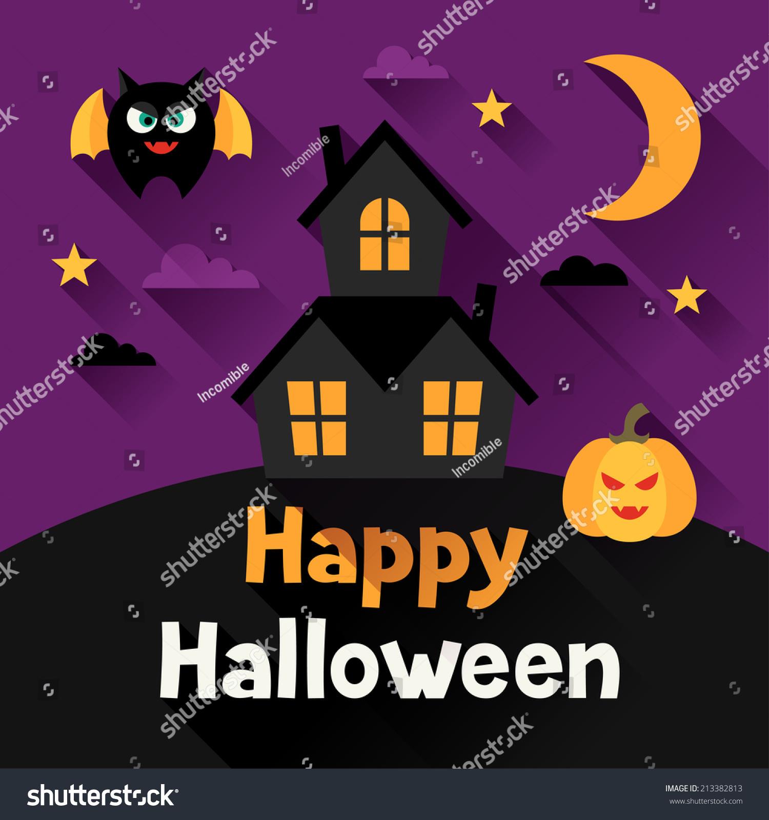 Happy Halloween Greeting Card Flat Design Stock Vector Royalty Free