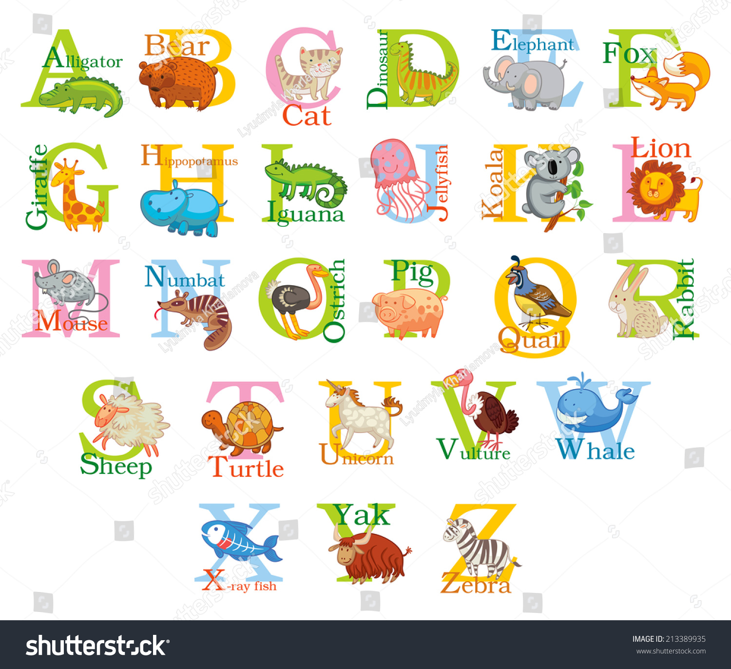 4 Letter Cartoon Characters : Cute animal alphabet funny cartoon character stock vector
