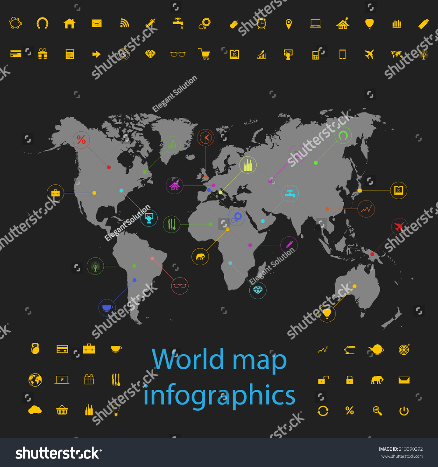 Vector picture world map night points stock vector 213390292 vector picture of world map at night with points and icons infographics for activity gumiabroncs Images