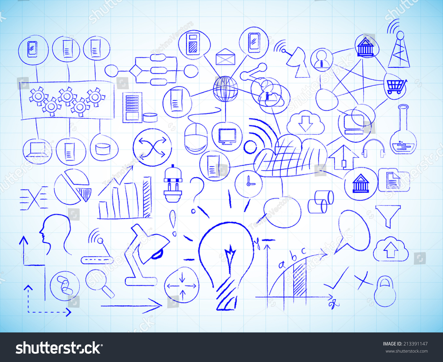Vector Image Of Information Technology Drawings On A Line ...