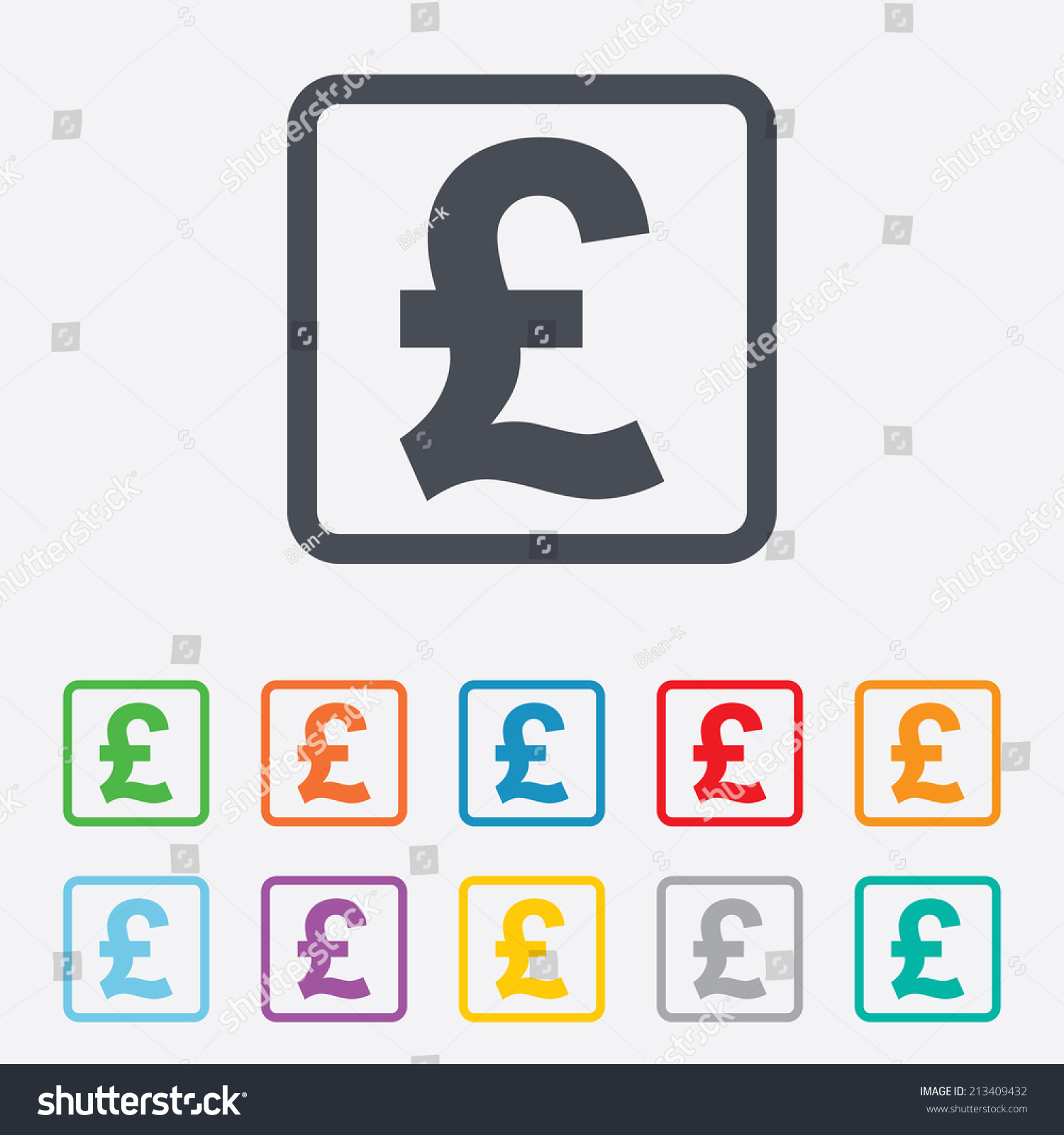 Pound Sign Icon Gbp Currency Symbol Stock Vector 213409432
