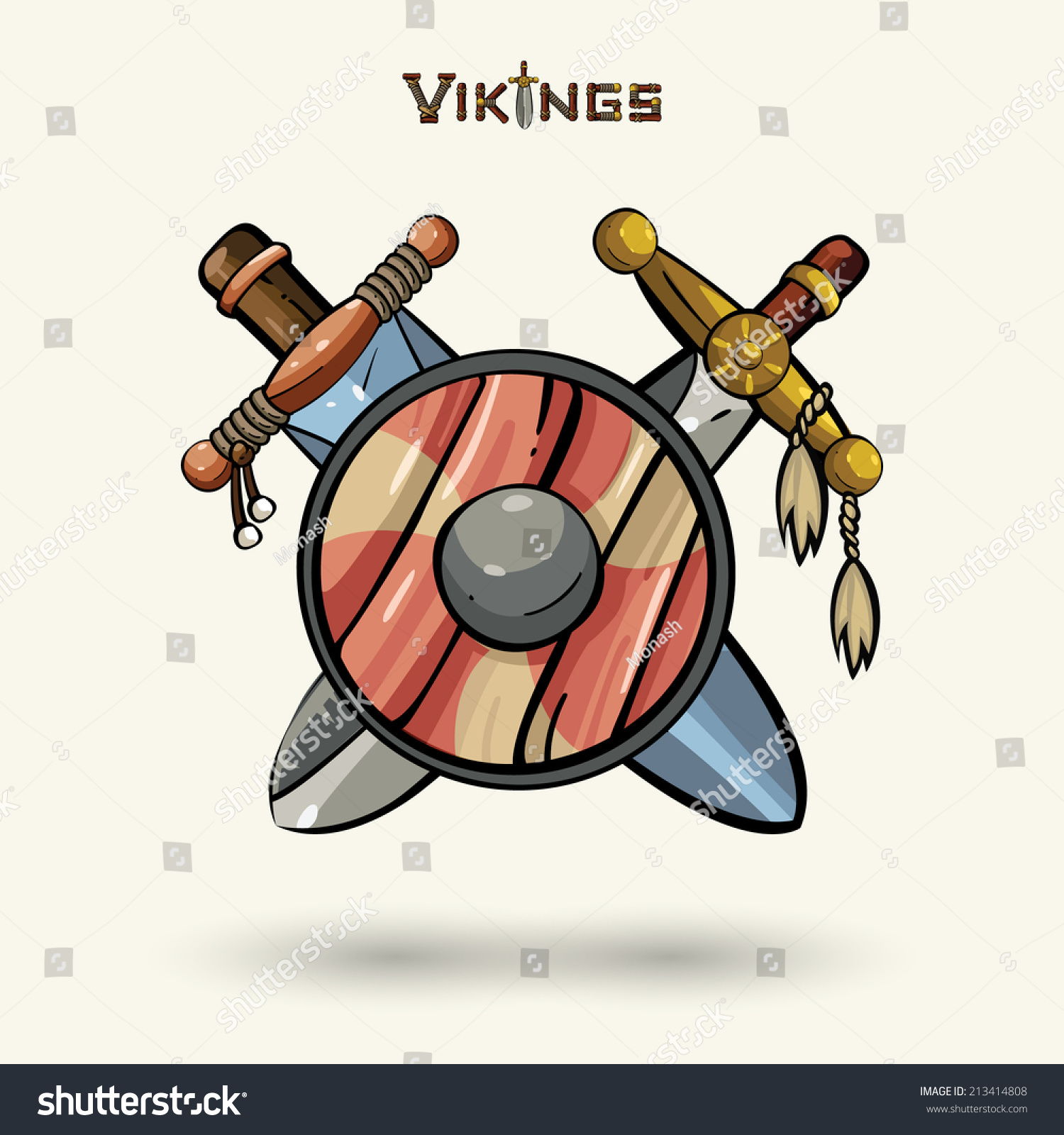 vikings emblem medieval weapons game icons stock vector 213414808