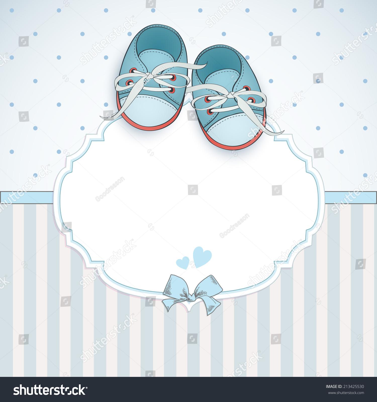 Baby Boy Shower Card Arrival Card Stock Vector 213425530