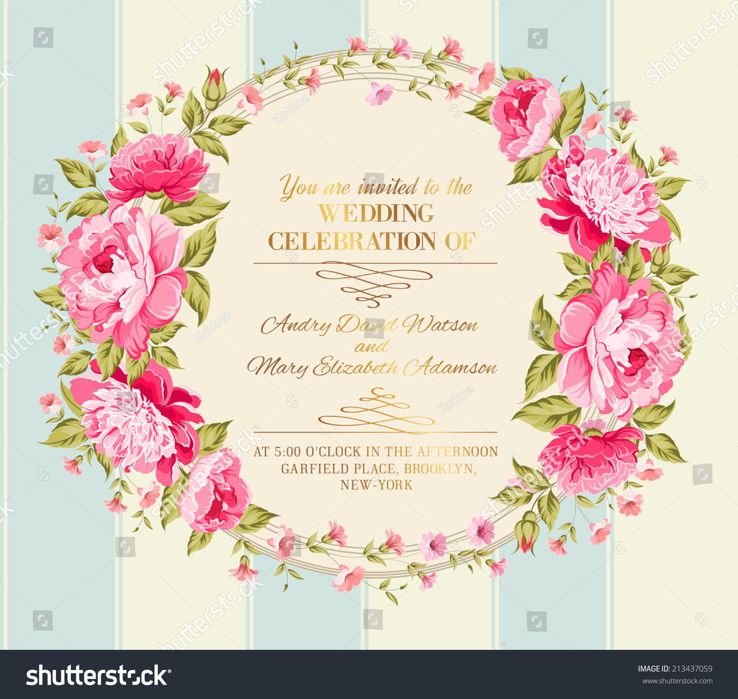 Wedding Invitation Card Color Flowers Vector Stock Vector