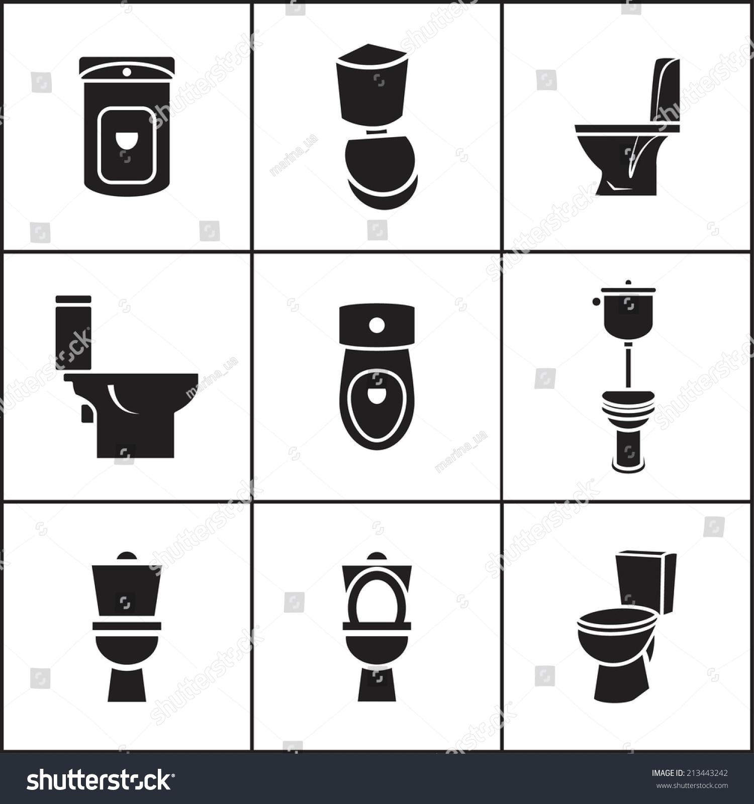 Set of flat simple web icons toilet wc closet lavatory  Set Flat Simple Web  Icons. Toilet Vectors   JulietteTemple com