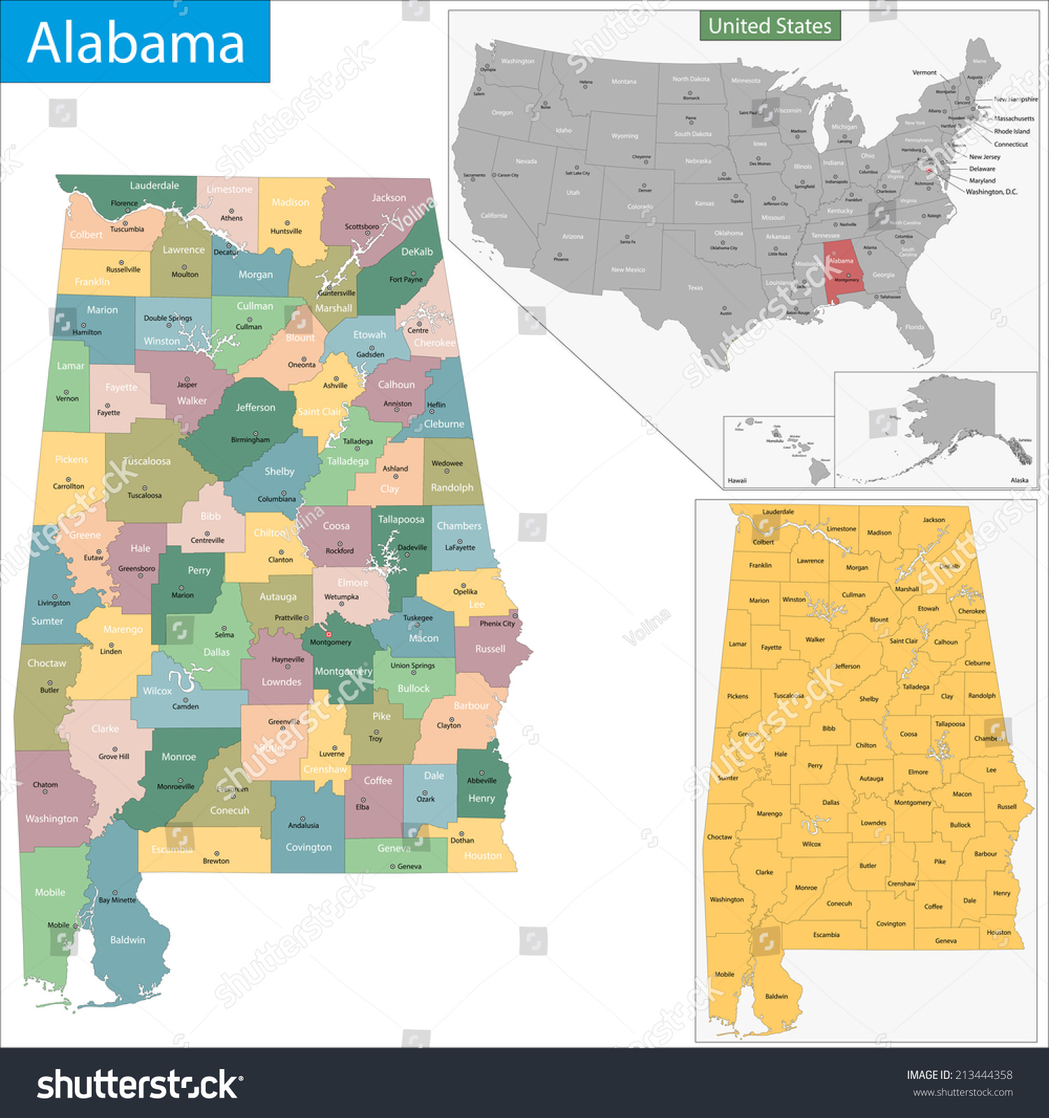Map Alabama State Designed Illustration Counties Stock - Maps of alabama counties