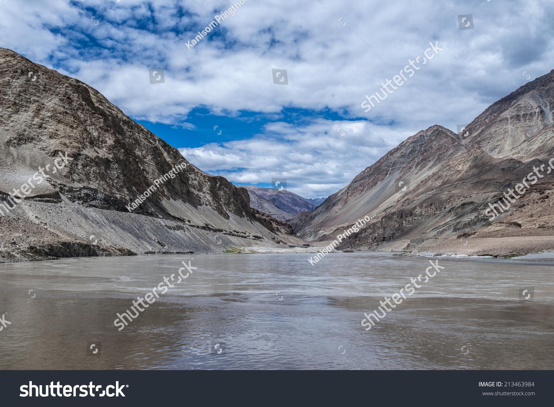 Sangam Point Confluence Indus Zanskar Rivers Stock Photo 213463984 ...