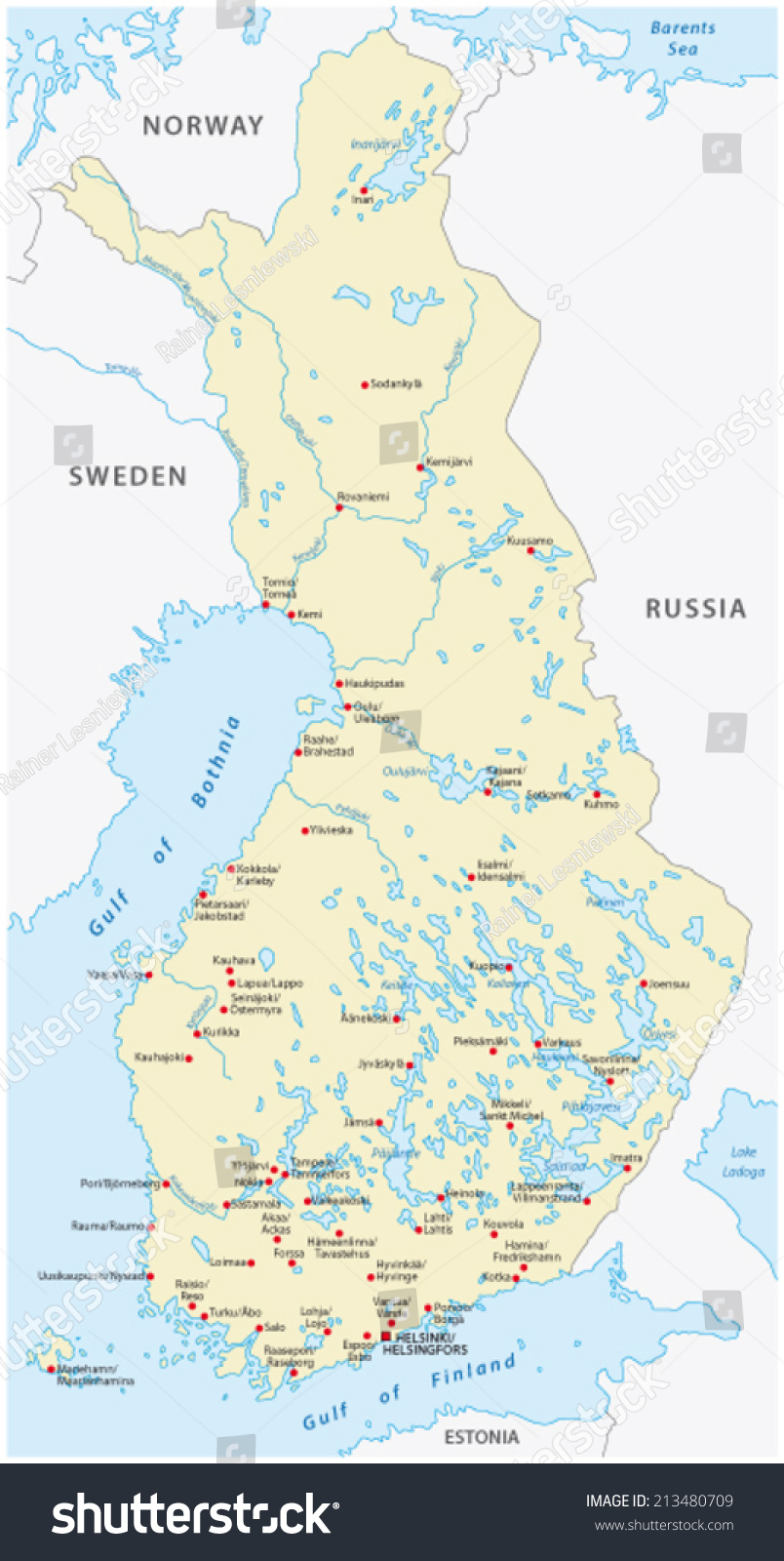 Finland Map Cities Finnish Swedish Language Stock Vector - Sweden map of cities