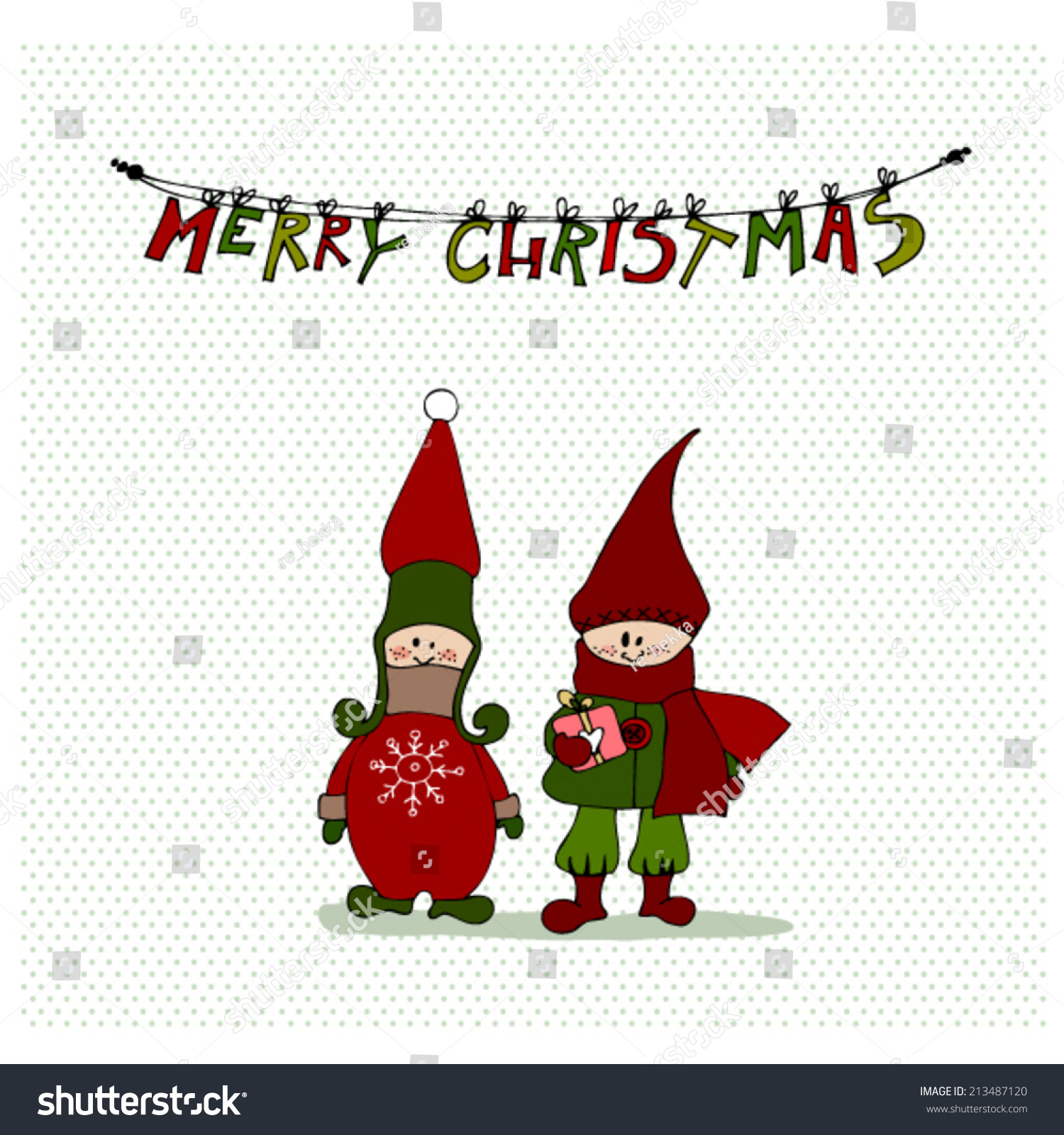 Vector Illustrated Christmas Cards Design Cute Stock Vector (Royalty ...