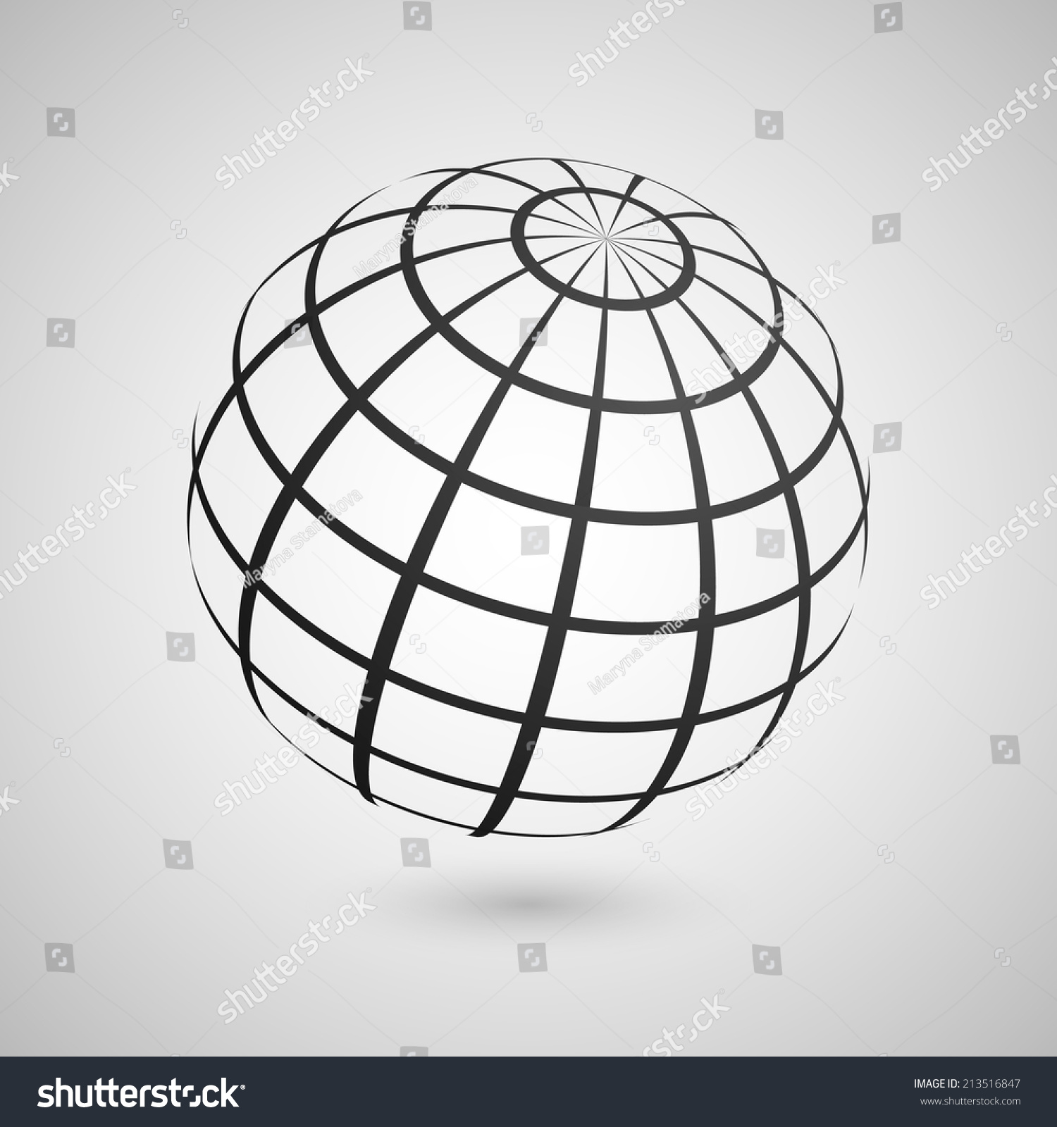 Illustration Wire Frame Planet Sphere Isolated Stock Vector (Royalty ...