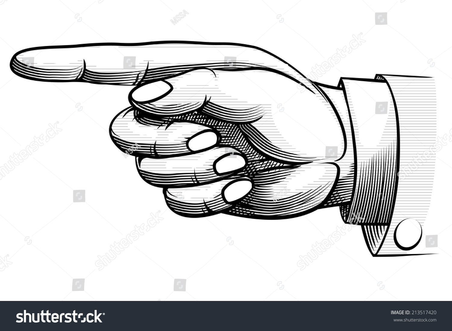 how to draw a hand pointing up