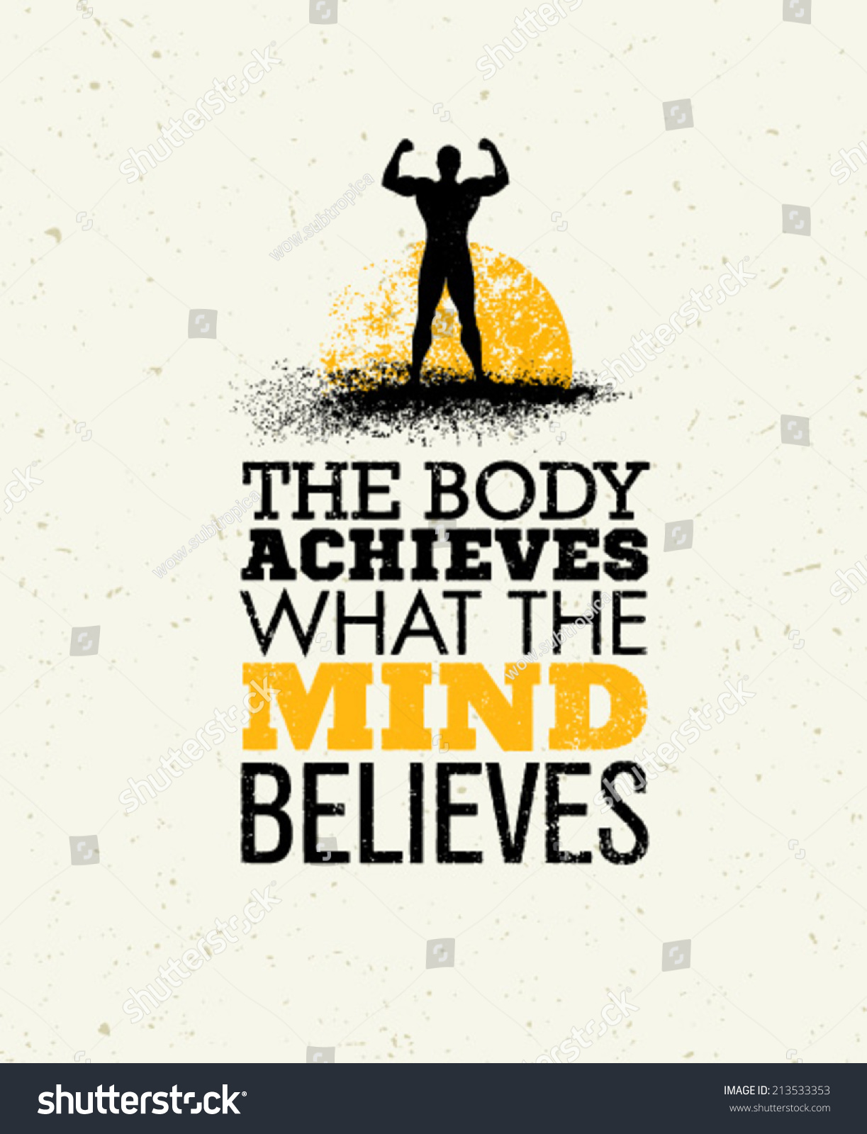 What The Heck Am I Doing The First Month Blogging: Body Achieves What Mind Believes Workout Stock Vector