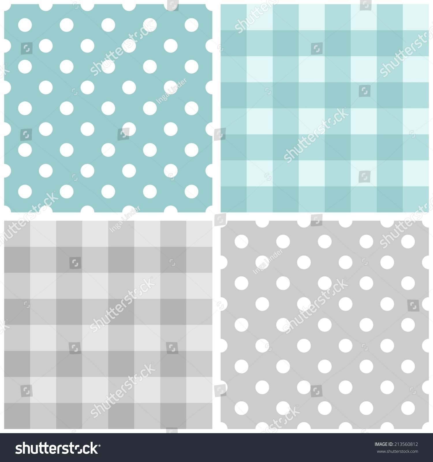 Tile Baby Blue Grey Pattern Set Stock Illustration 213560812 ...