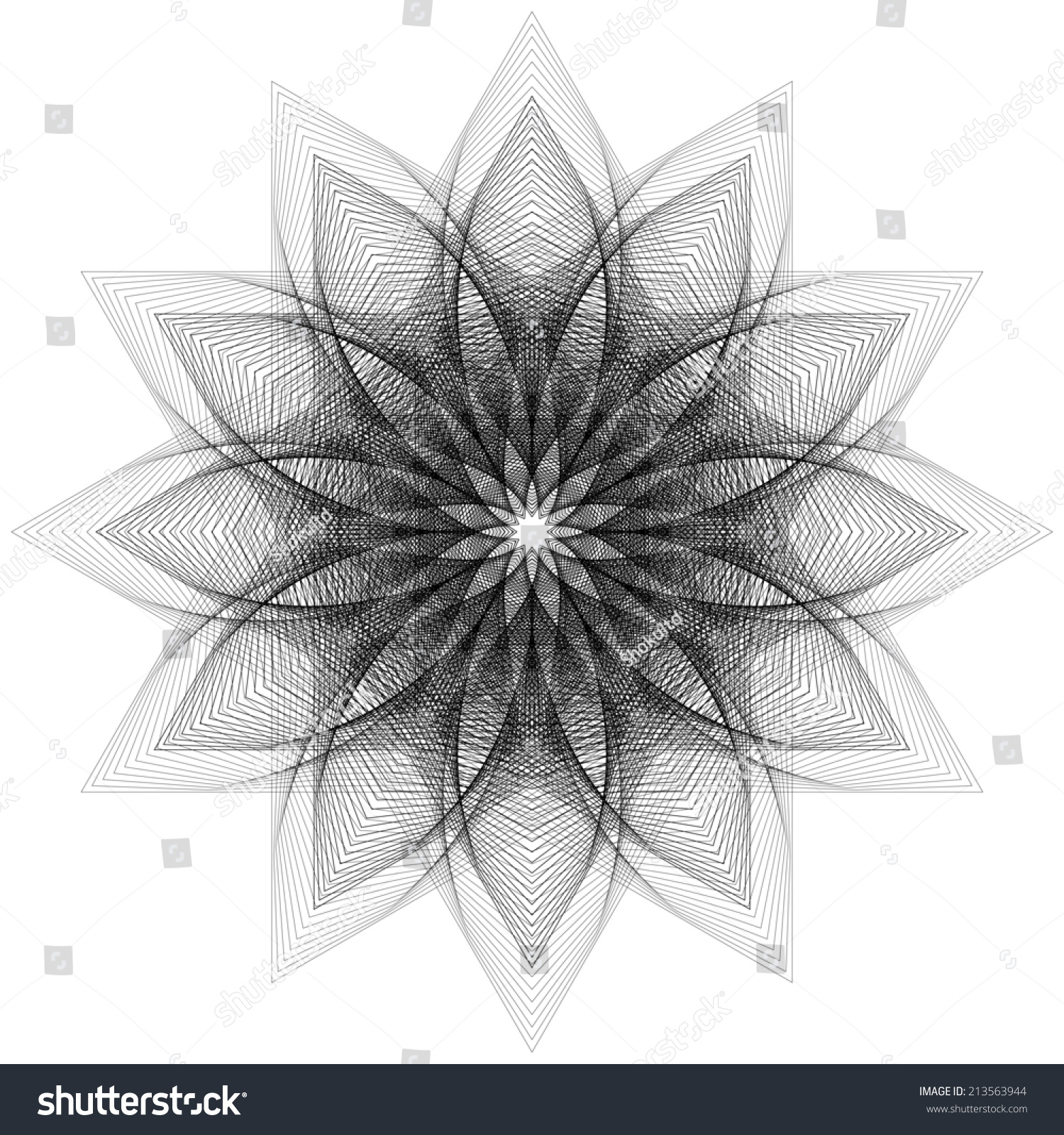 Digital Line Art : Abstract digital line art floral pattern stock