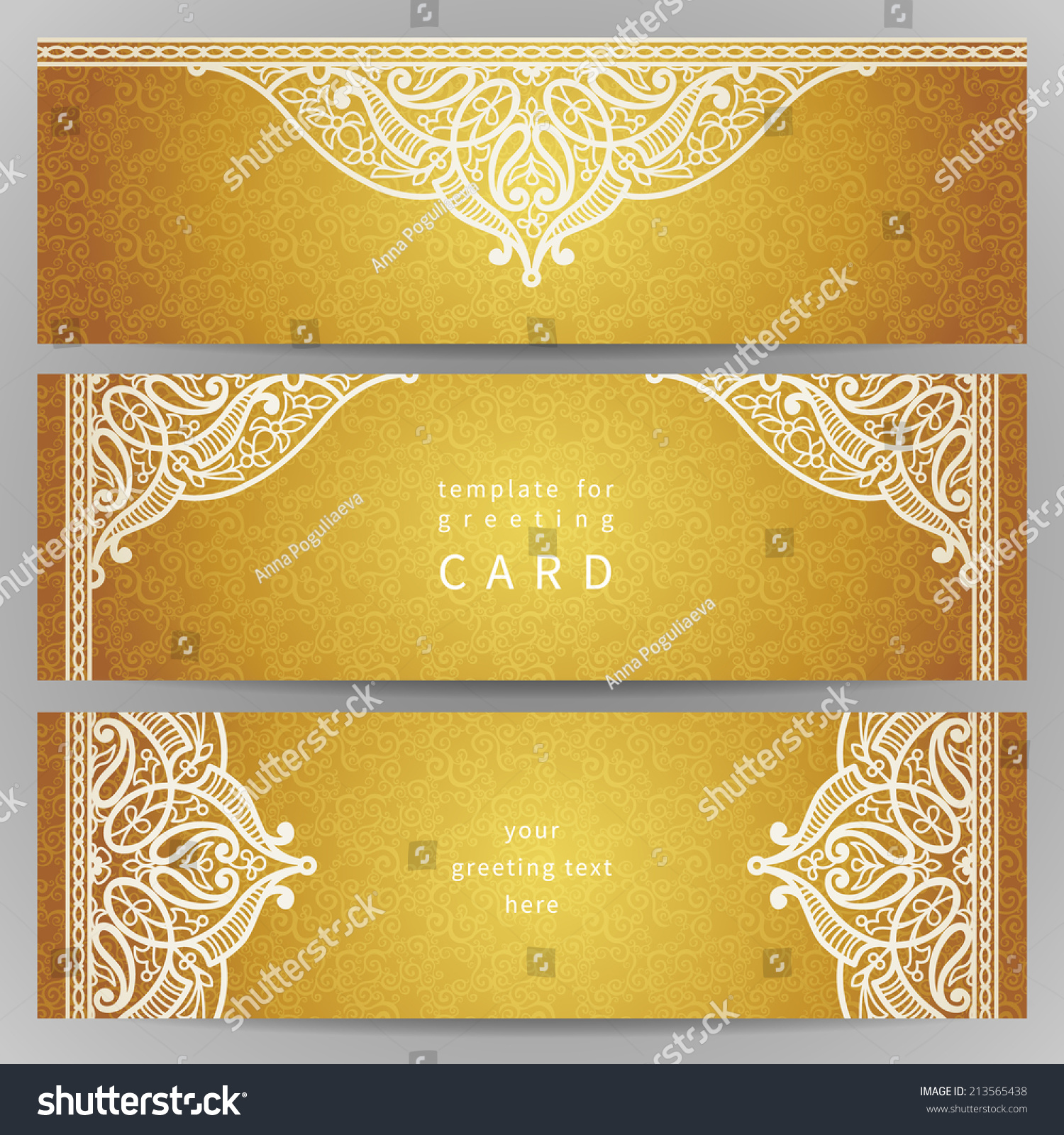 Vintage Ornate Cards Oriental Style Golden Stock Photo Photo