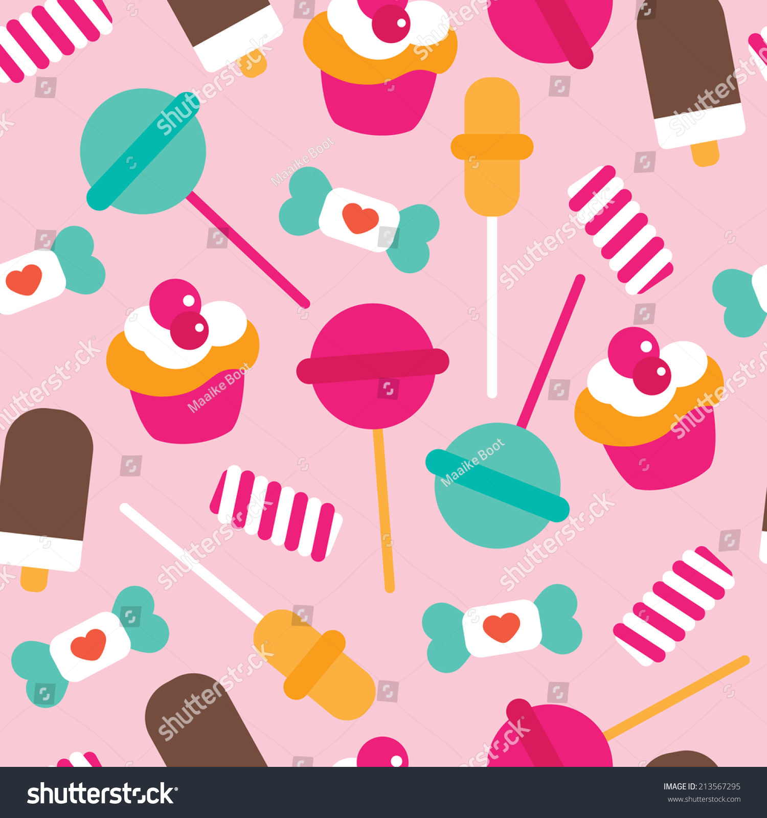 Cute Colorful Ice Cream Seamless Pattern Background: Seamless Candy Lollipop Ice Cream Cupcake Stock Vector