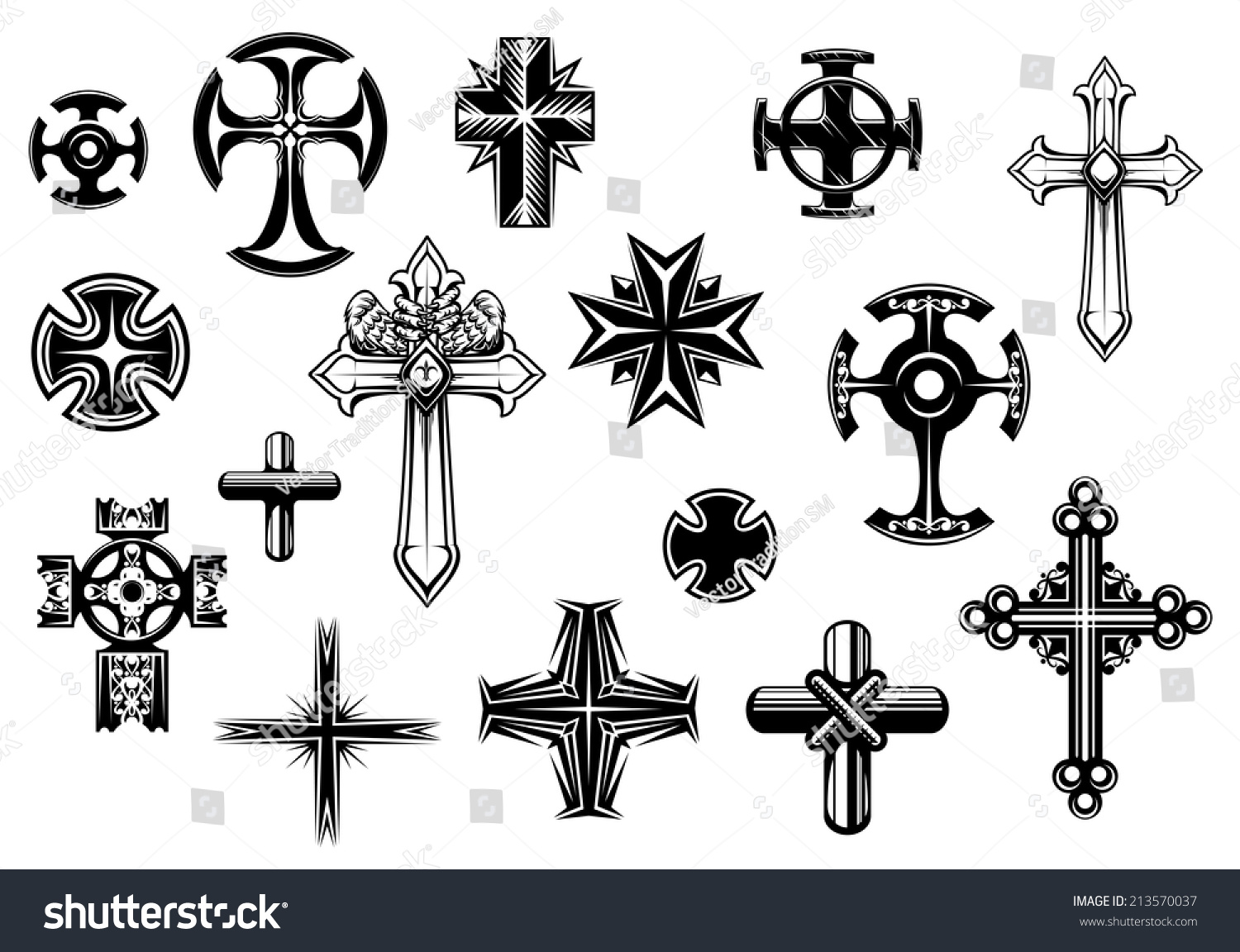 Religious Crosses Set Isolated On White Stock Vector Royalty Free