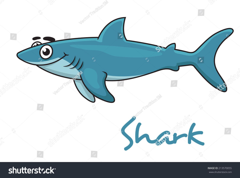 cute cartoon smiling shark isolated on stock vector 213570055