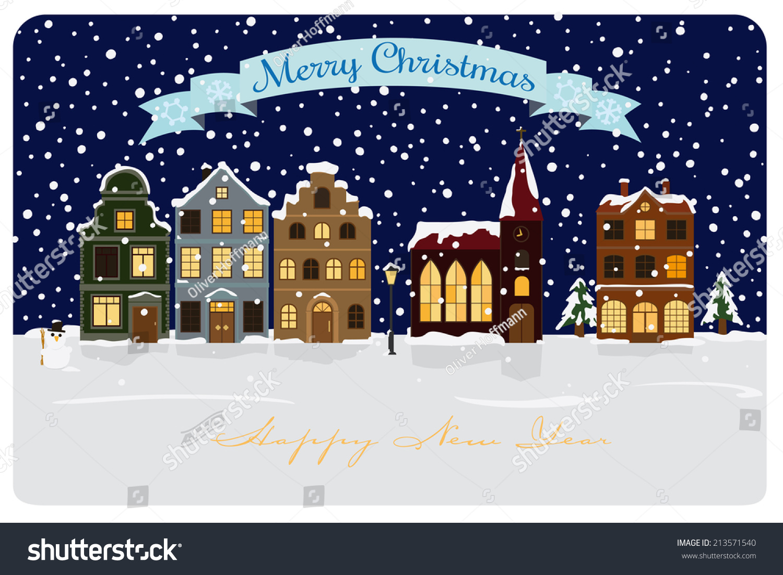 Winter Village Seasonal Greetings Vector Illustration Stock Vector