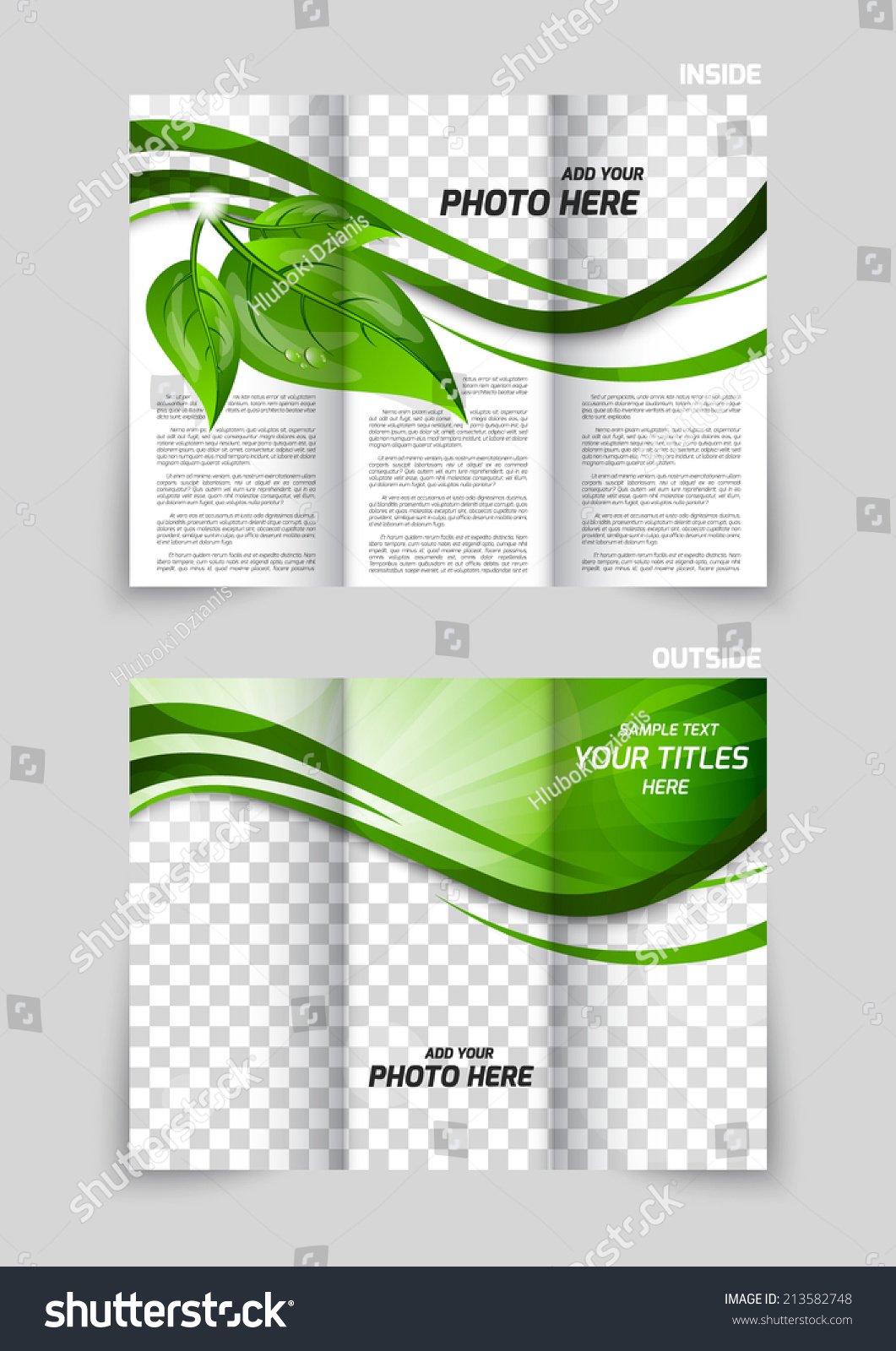 trifold brochure template design green leaves stock vector royalty