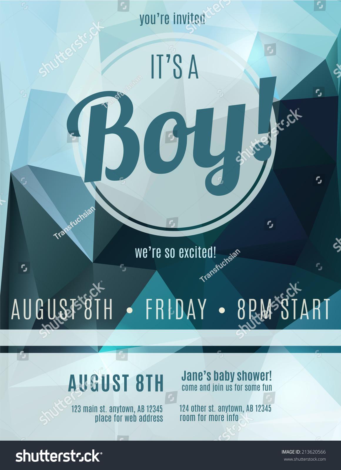 Boy Birth Announcement Flyer Design Template Vector – Baby Shower Flyer Template Free