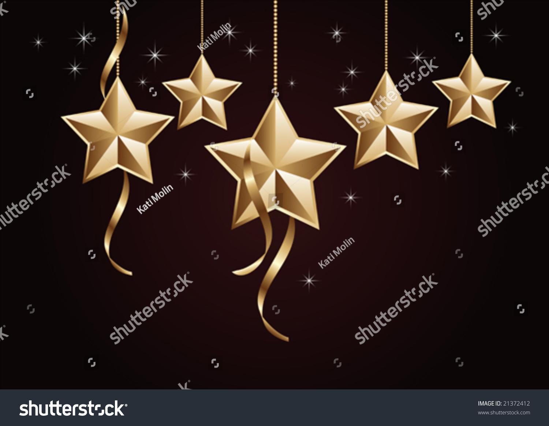 Gold star ornaments - Golden Star Ornaments Hanging On Dark Background