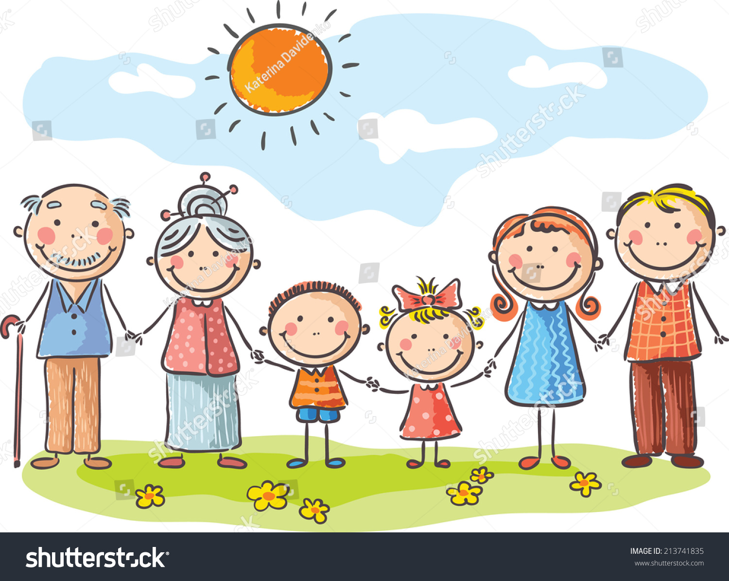 Happy Family With Two Children And Grandparents Stock ... Grandparents Family Clipart