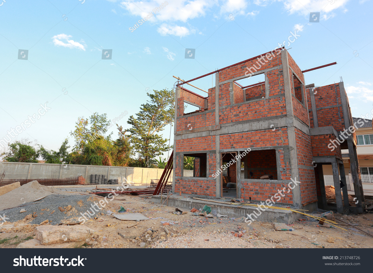 Marvelous Construction House Structure Made Cement Brick Stock Photo Largest Home Design Picture Inspirations Pitcheantrous