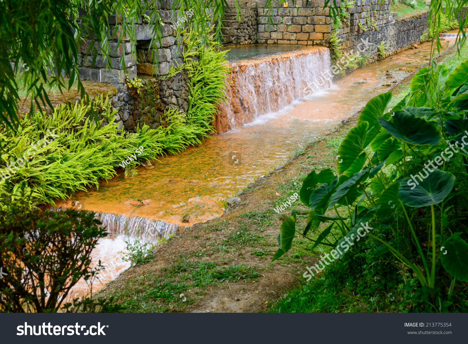 Hot Natural Swimming Pools Furnas Sao Miguel Azores Portugal Europe Stock Photo 213775354