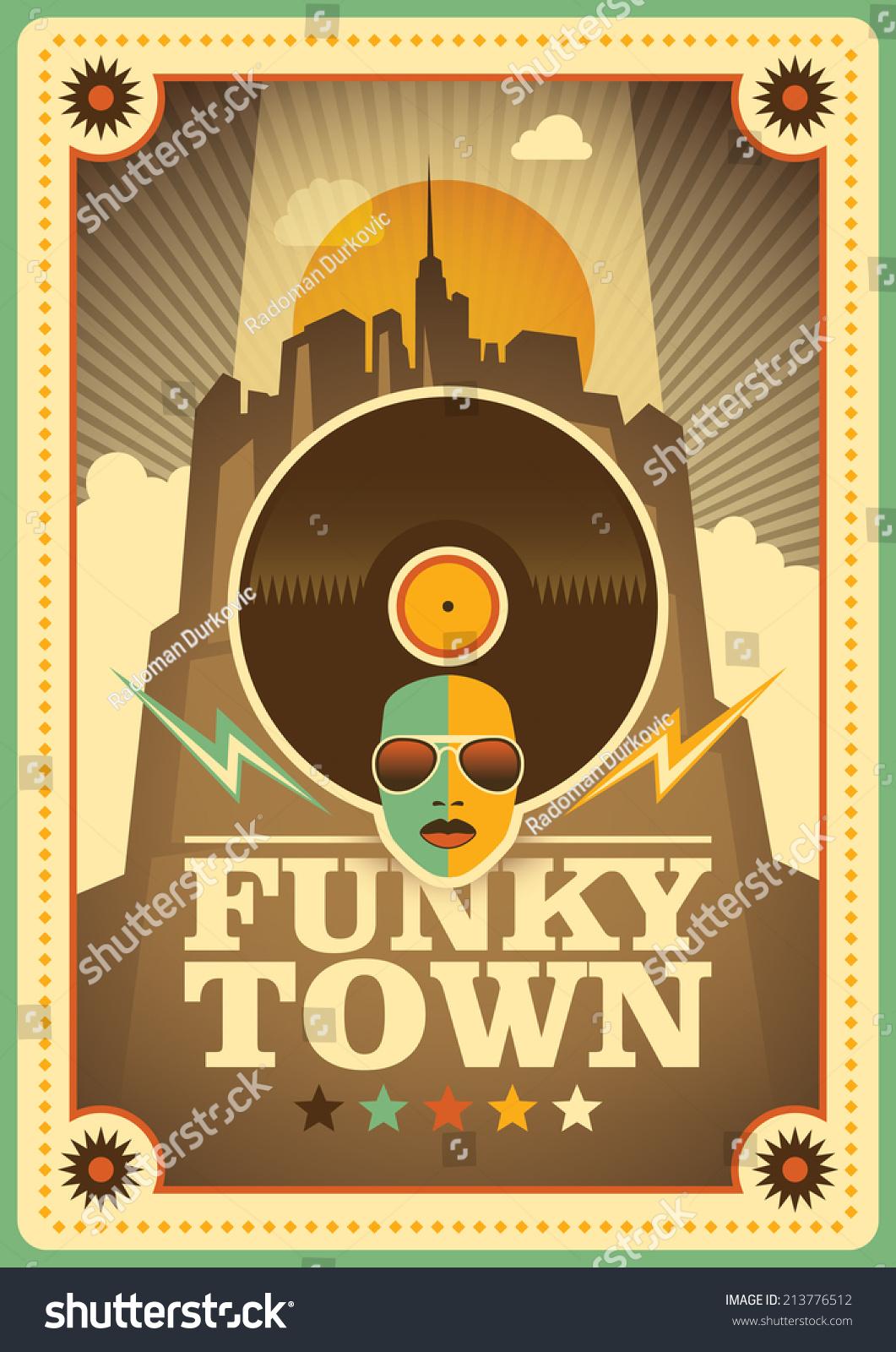 Funky Town Poster Vector Illustration Stock-Vektorgrafik (Lizenzfrei ...