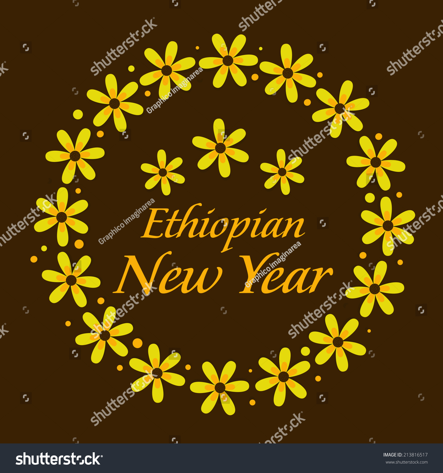 illustration of yellow flower wreaths for ethiopian new year festival