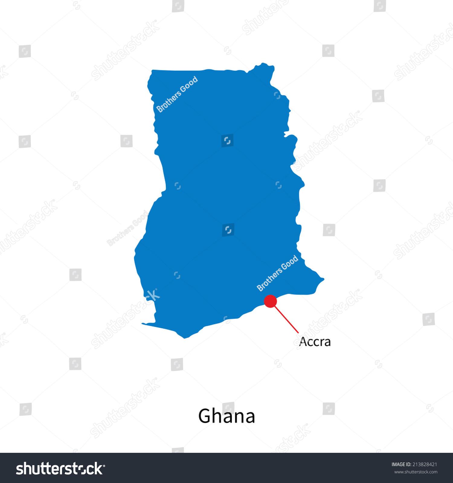 Detailed Vector Map Ghana Capital City Stock Vector - Map of ghana