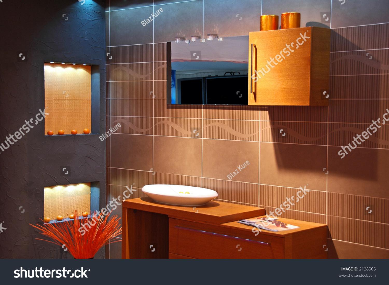 Modern bathroom with blue orange colours stock photo for Blue and orange bathroom