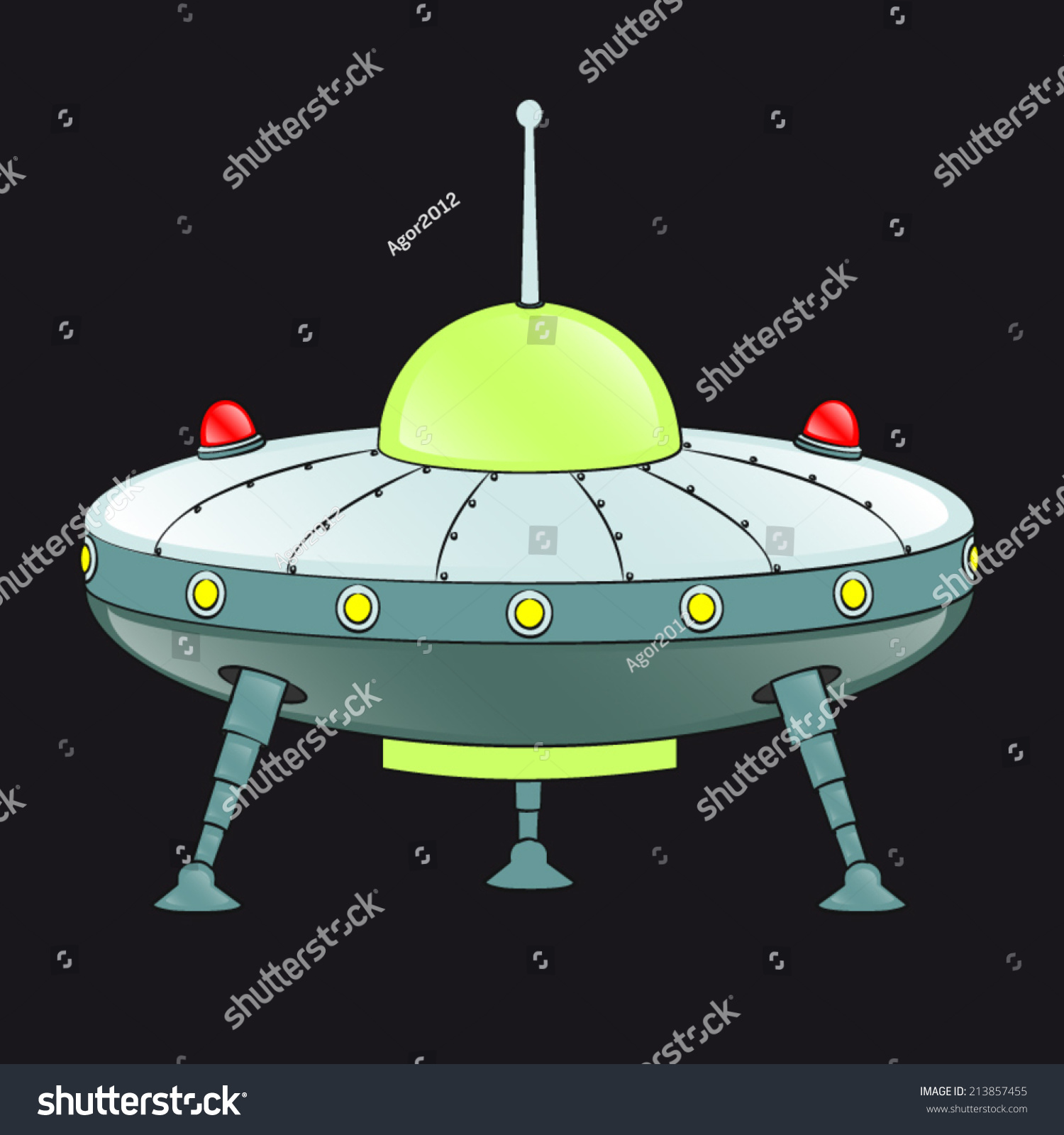 flying saucer space aliens three retractable stock vector