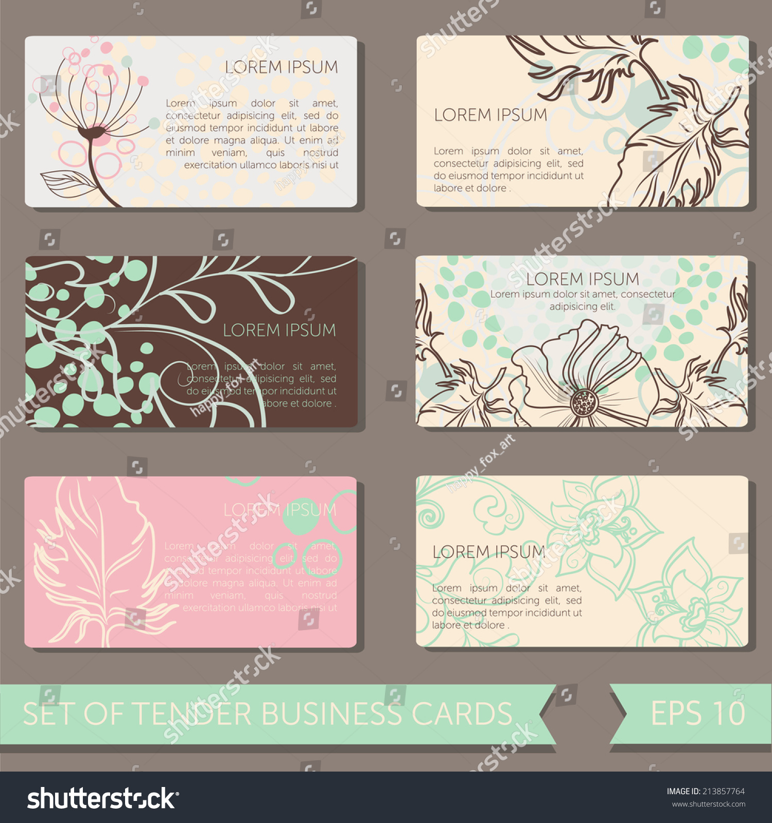 Set Cute Business Cards Templates Vector Stock Vector 213857764 ...