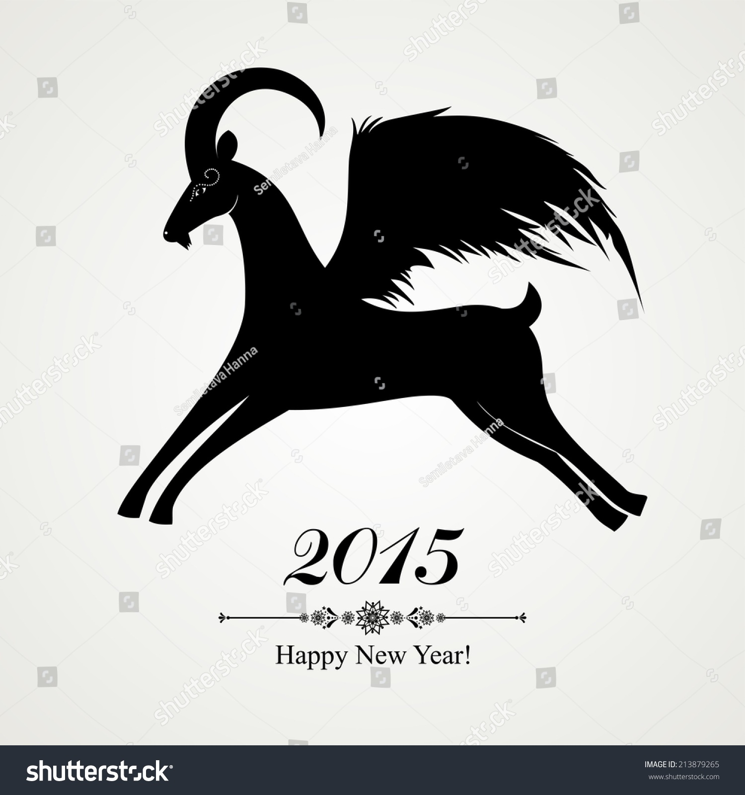 2015 New Year Card Black Goat Stock Illustration 213879265