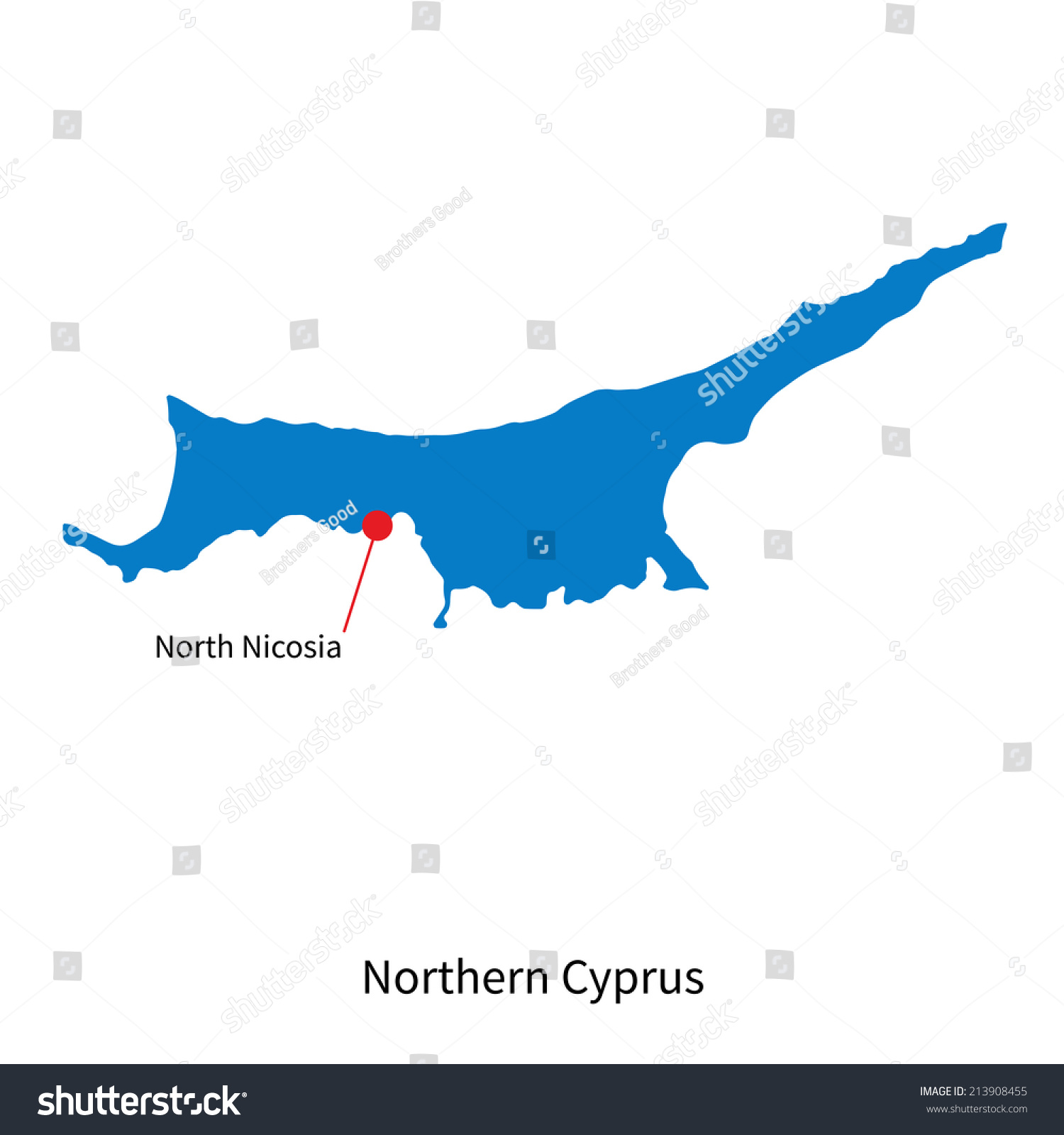 Detailed Vector Map Northern Cyprus Capital Stock Vector - Northern cyprus map