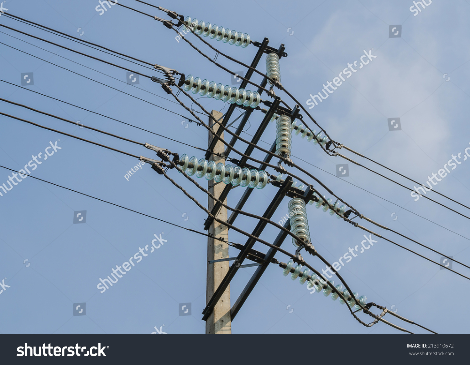 Highvoltage Electrical Insulator Electric Line Stock Photo